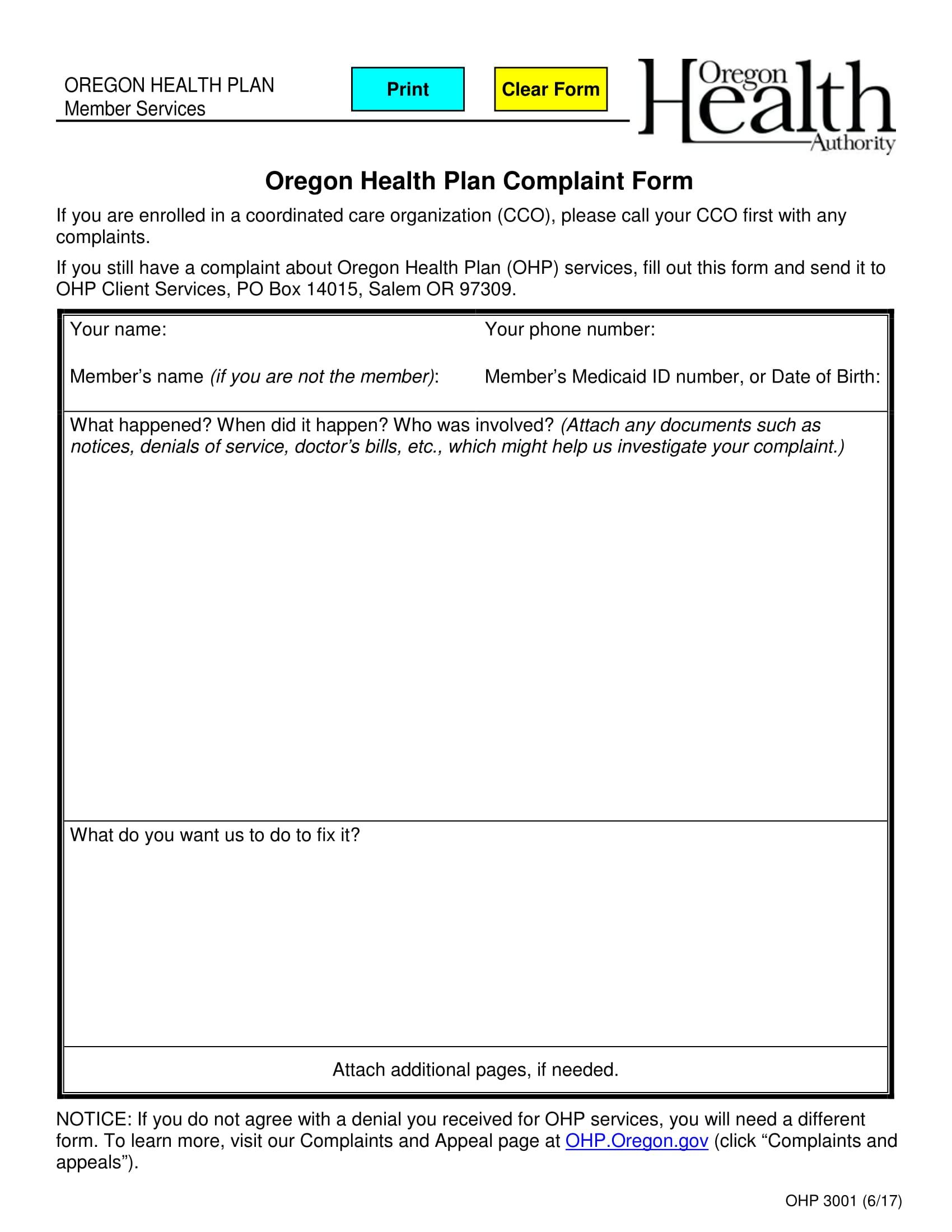 health plan complaint form 1