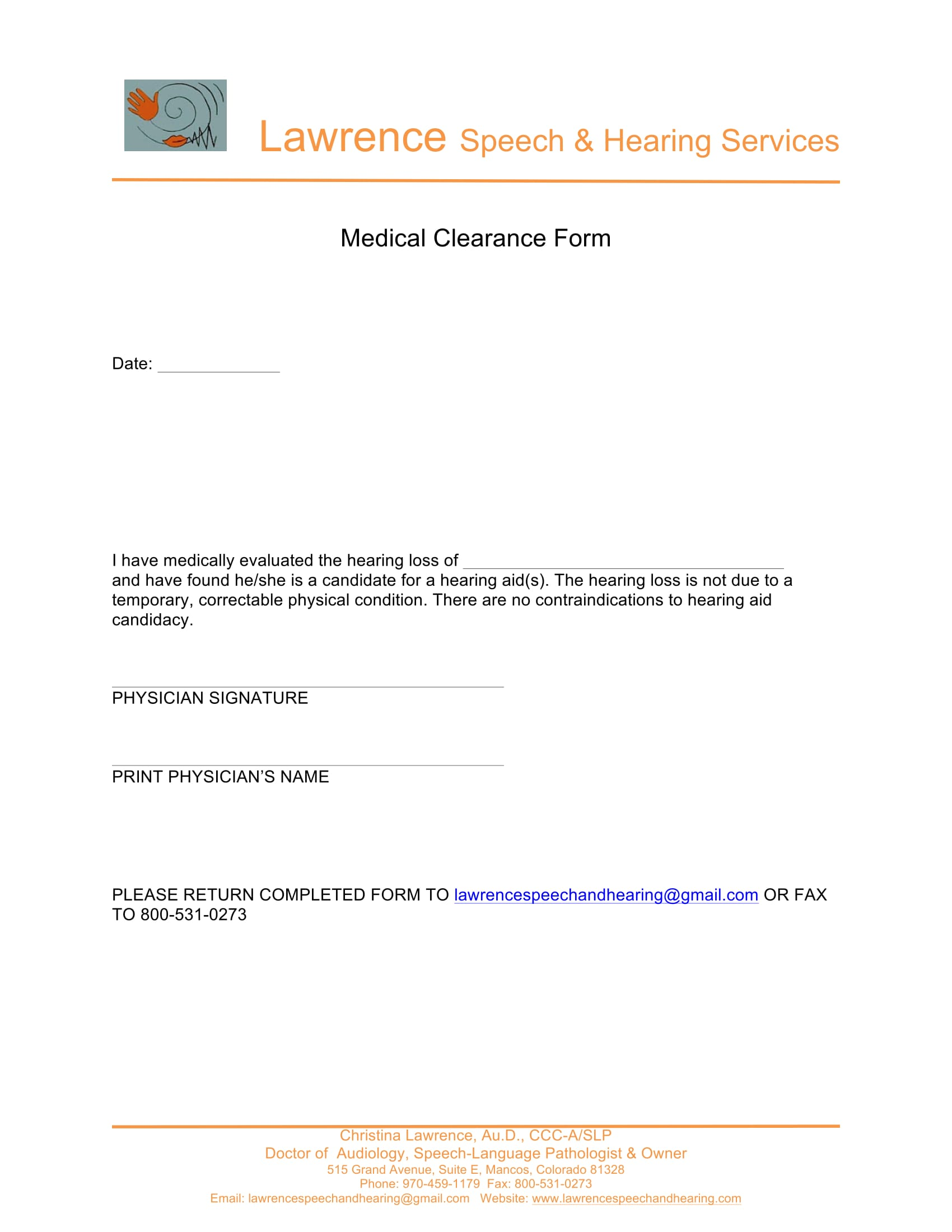 hearing service medical clearance form 2