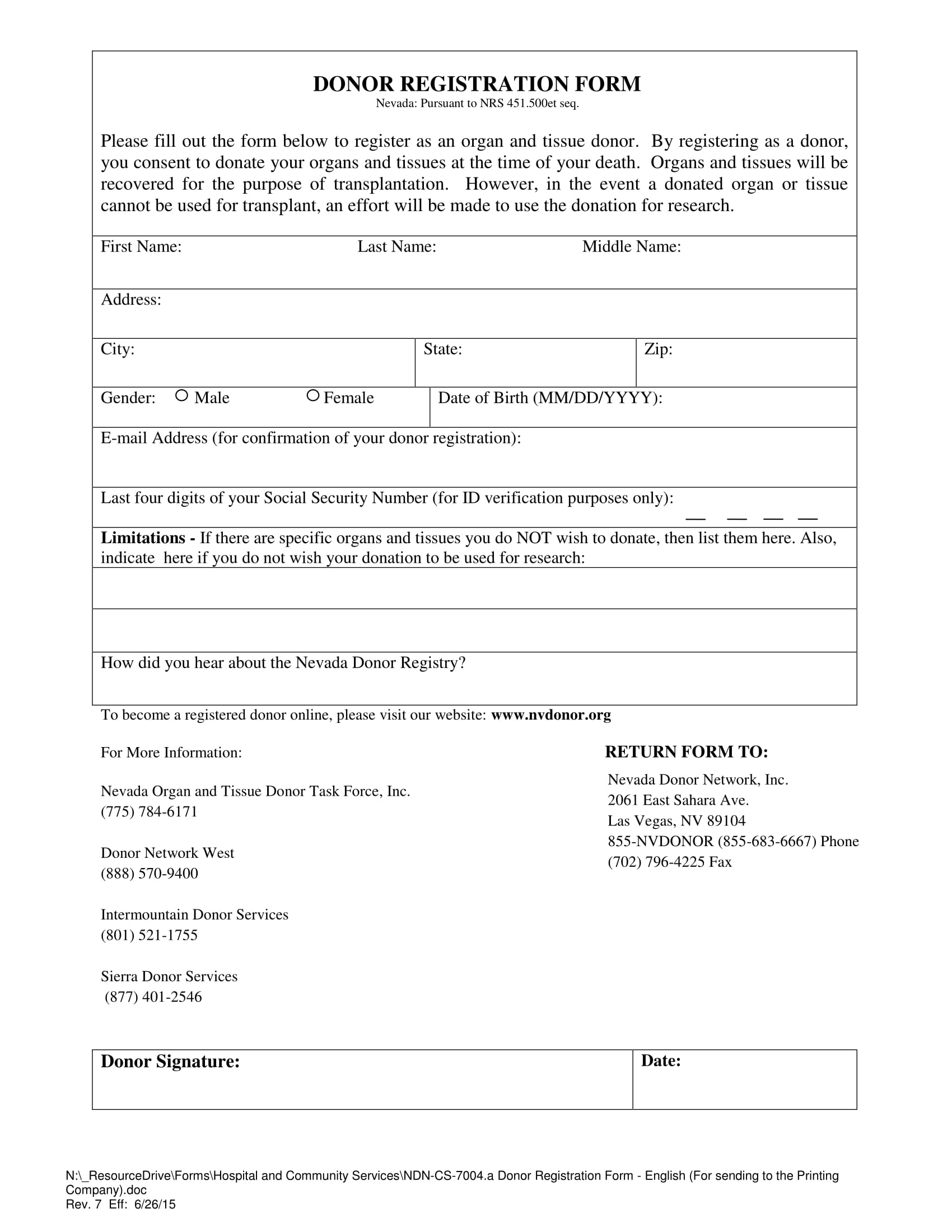 hospital donor registration form 1