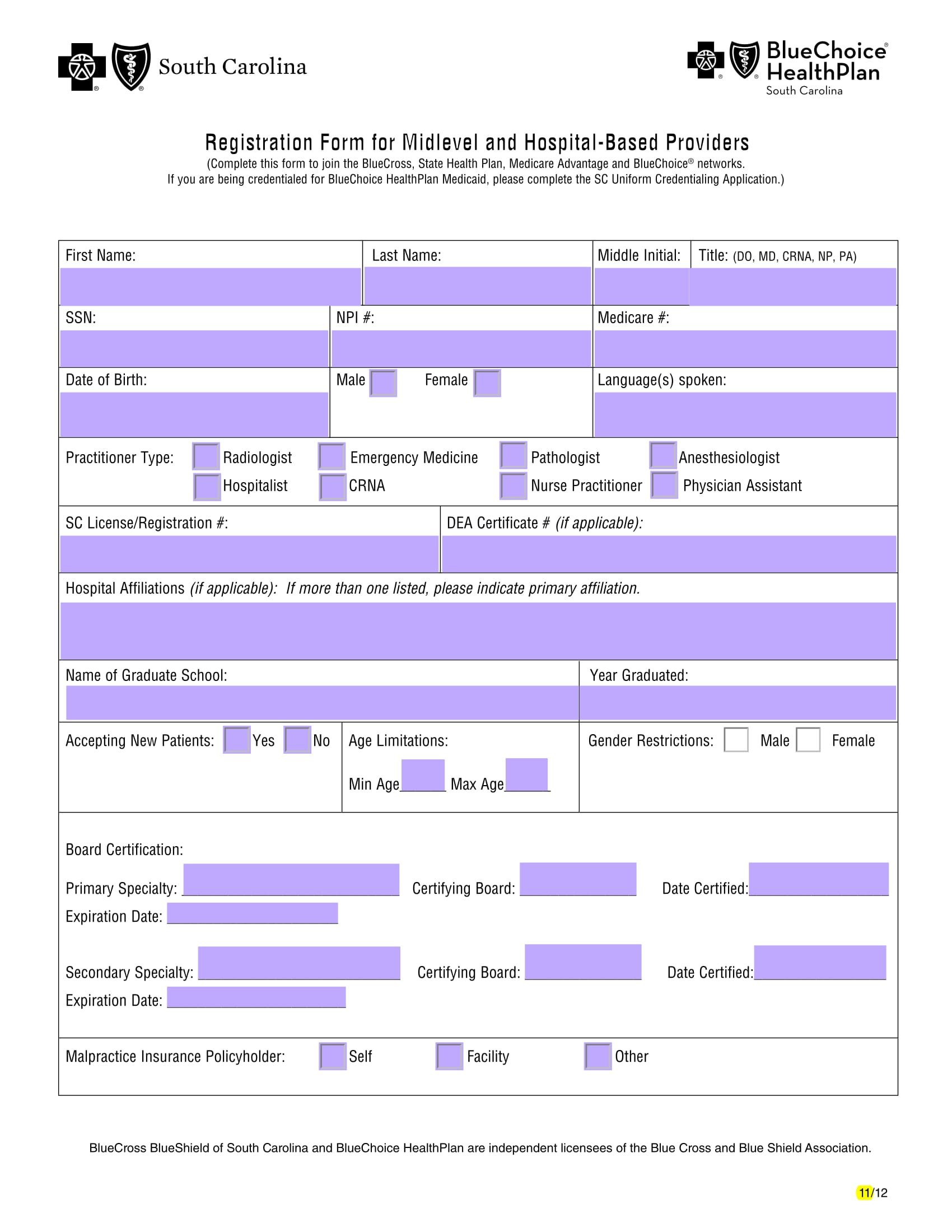 hospital providers registration form 1