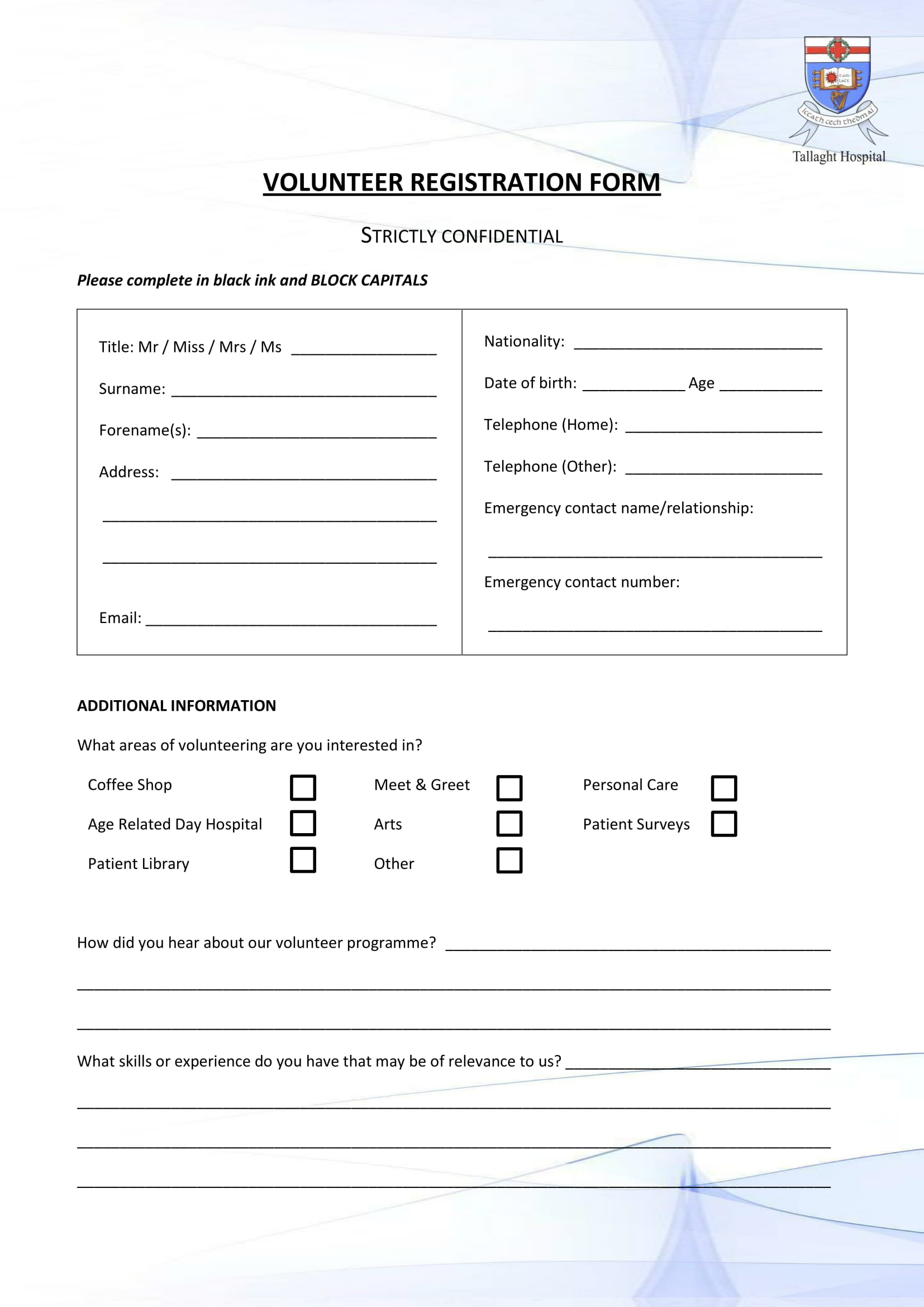 hospital volunteer registration form 1