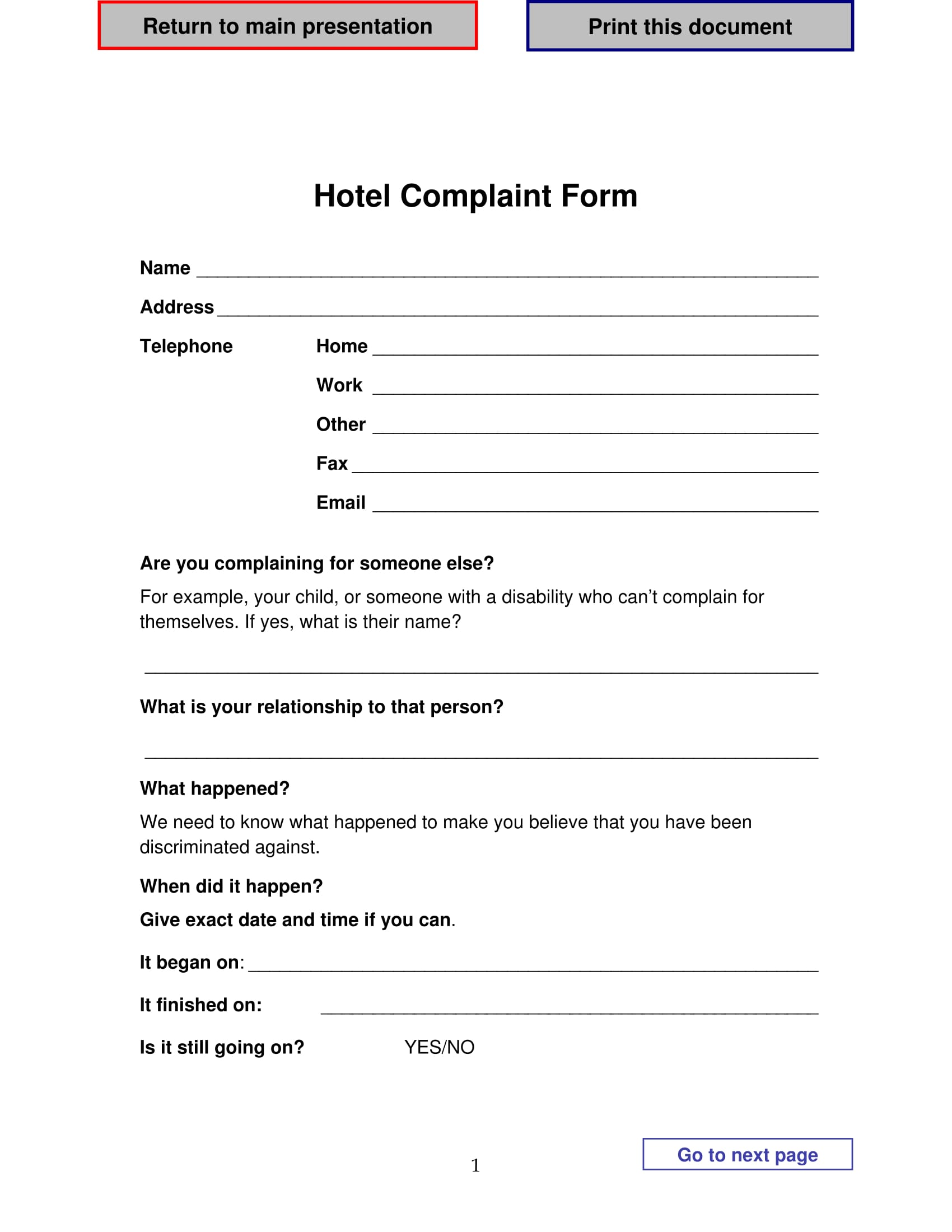 hotel complaint form 1