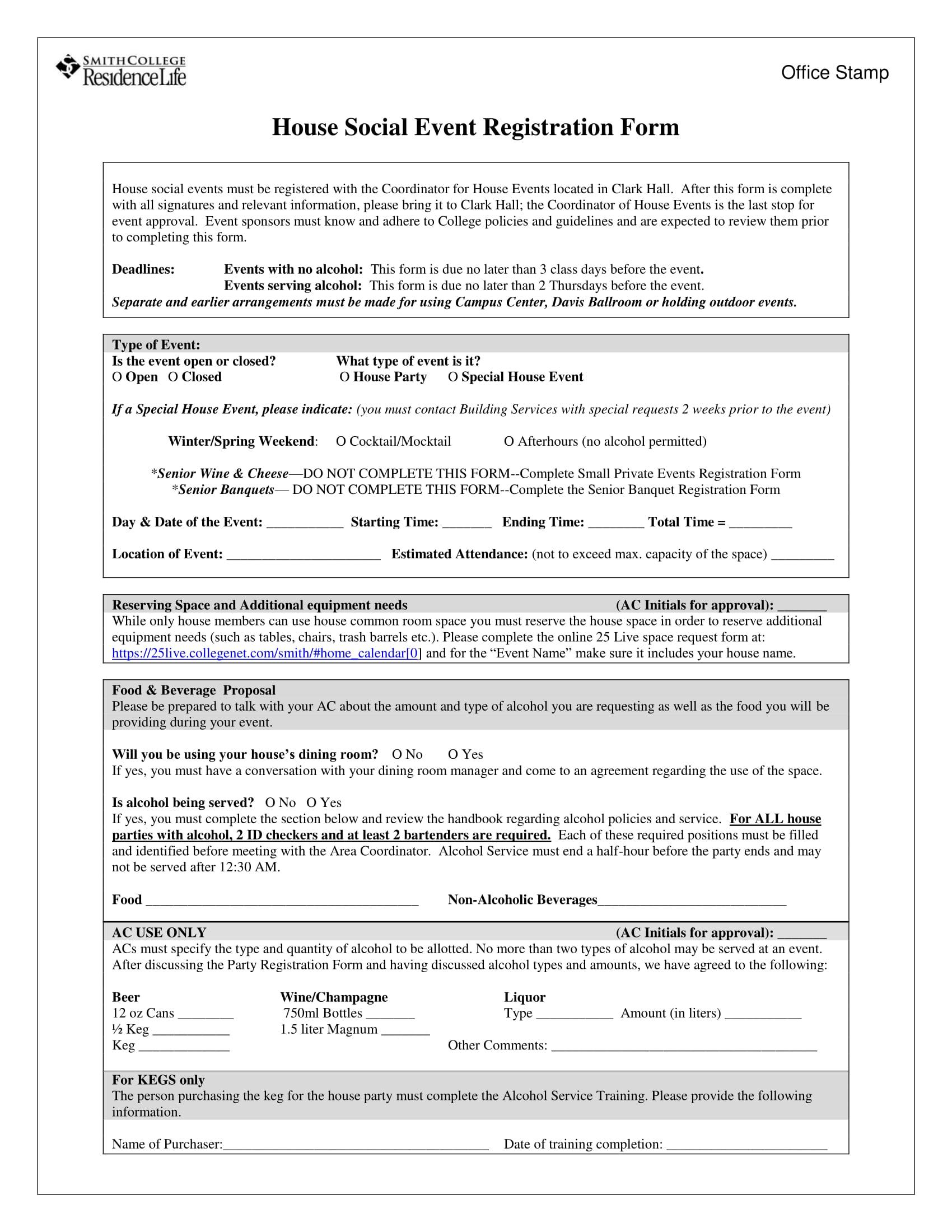 house social event registration form 2