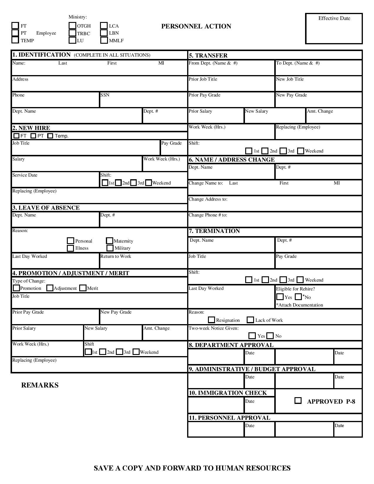 human resource personnel action form page 001