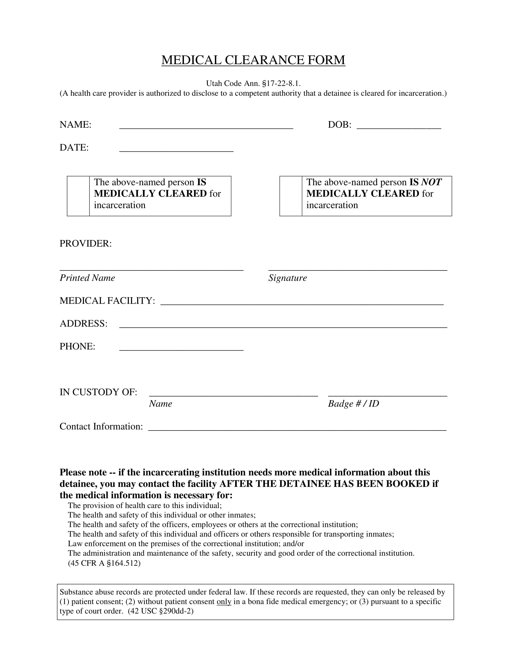 incarceration medical clearance form 1