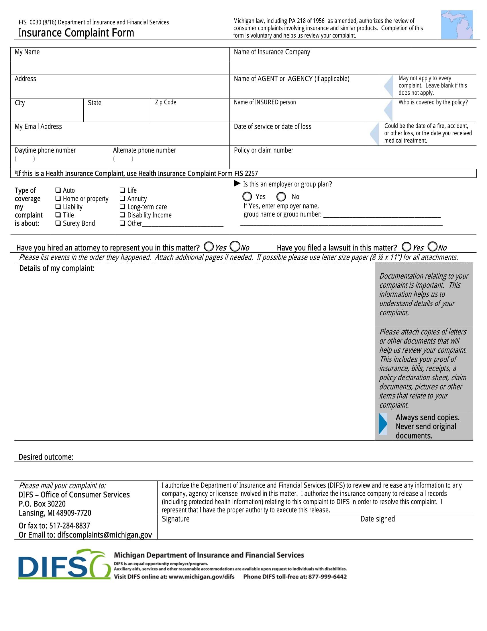 insurance complaint form 4