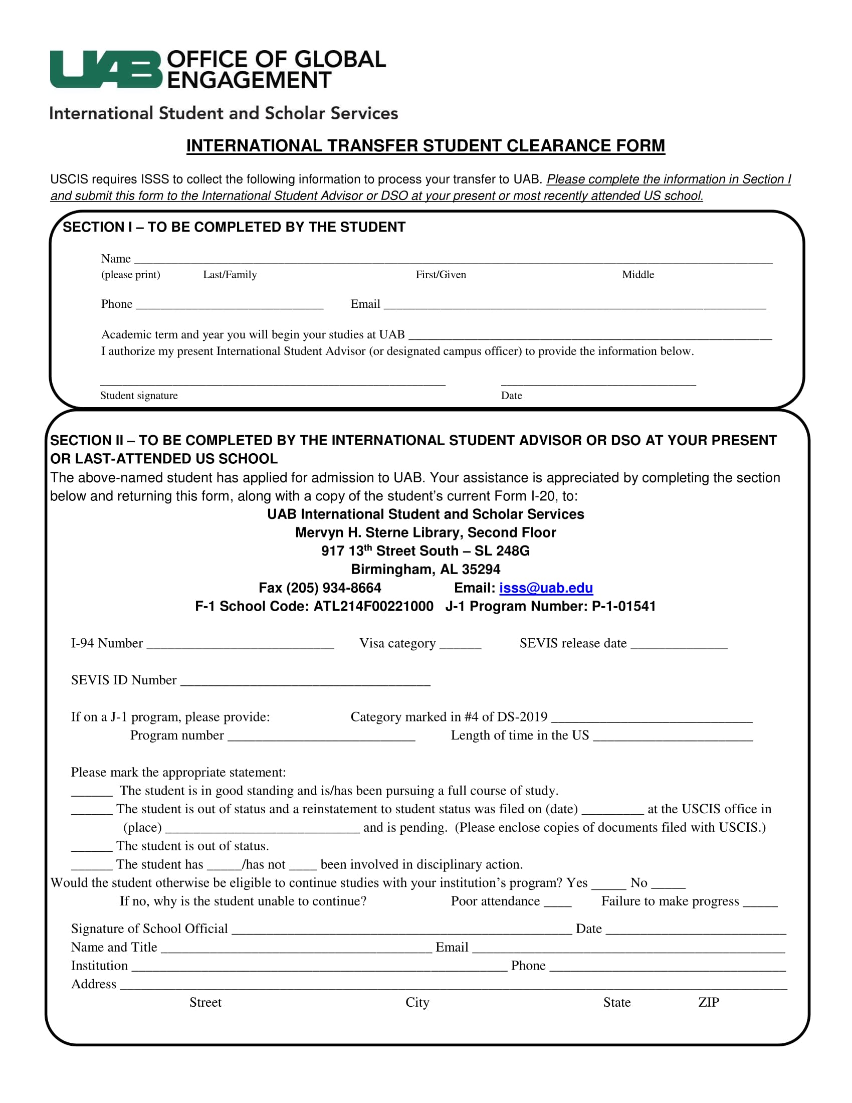 international transfer student clearance form 1