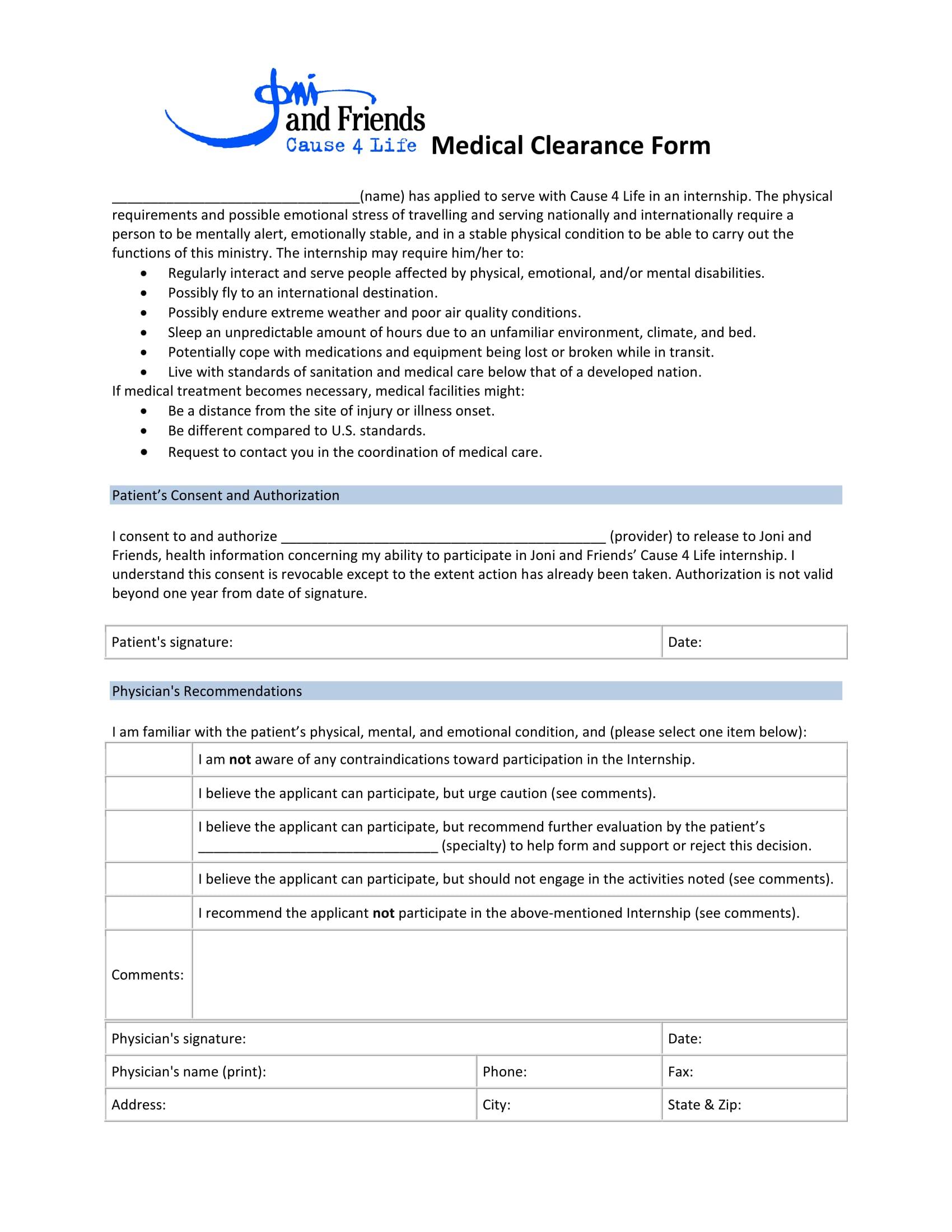 internship medical clearance form 2