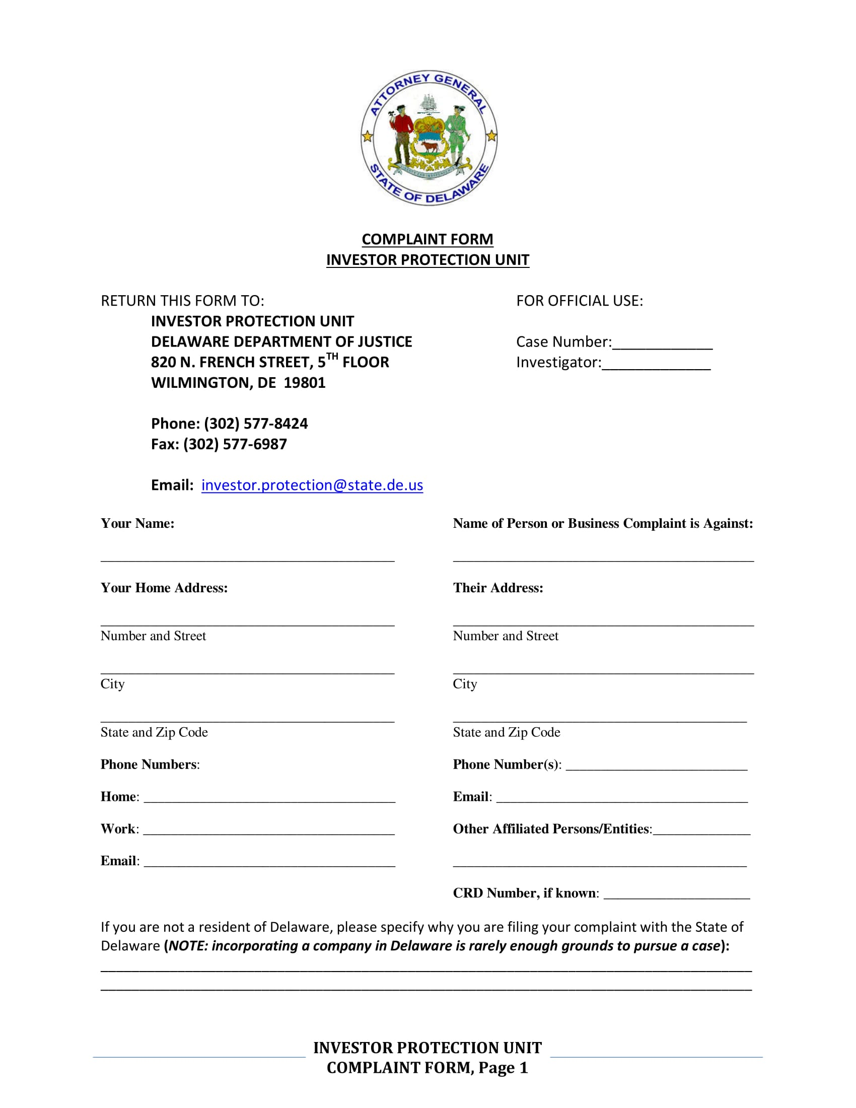 investor protection complaint form 1