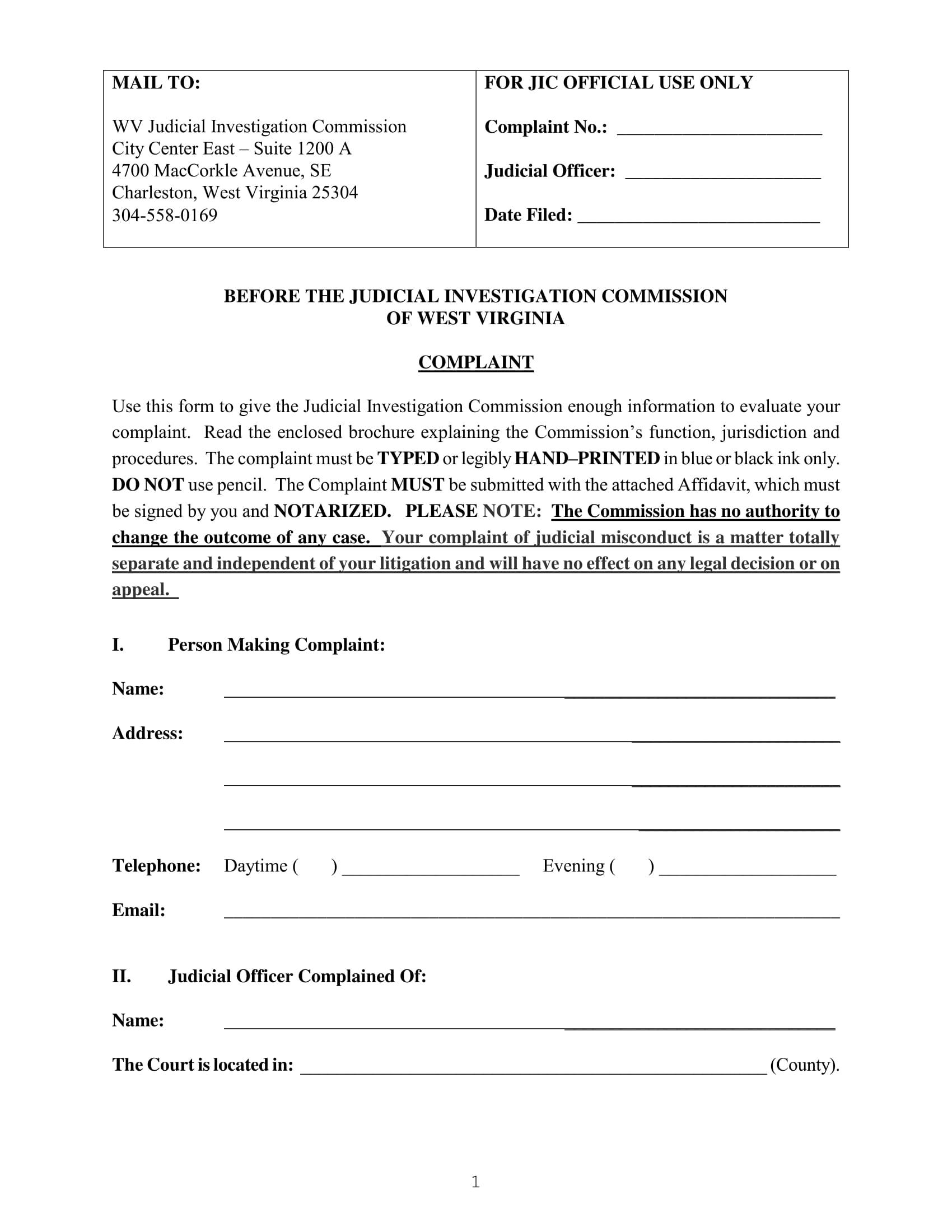 judicial council form complaint 100 free complaint forms 61 - Complaint Form