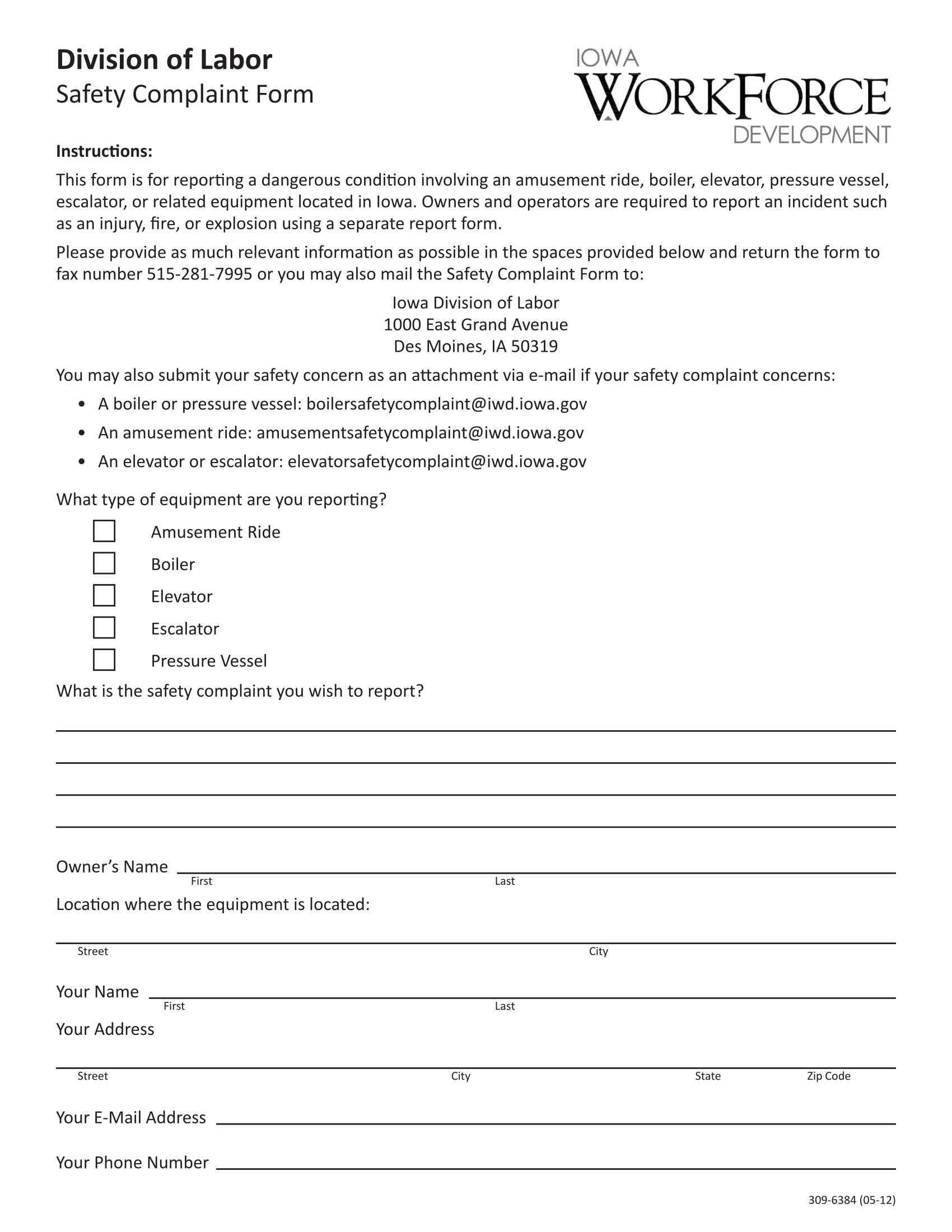 labor equipment safety complaint form 1