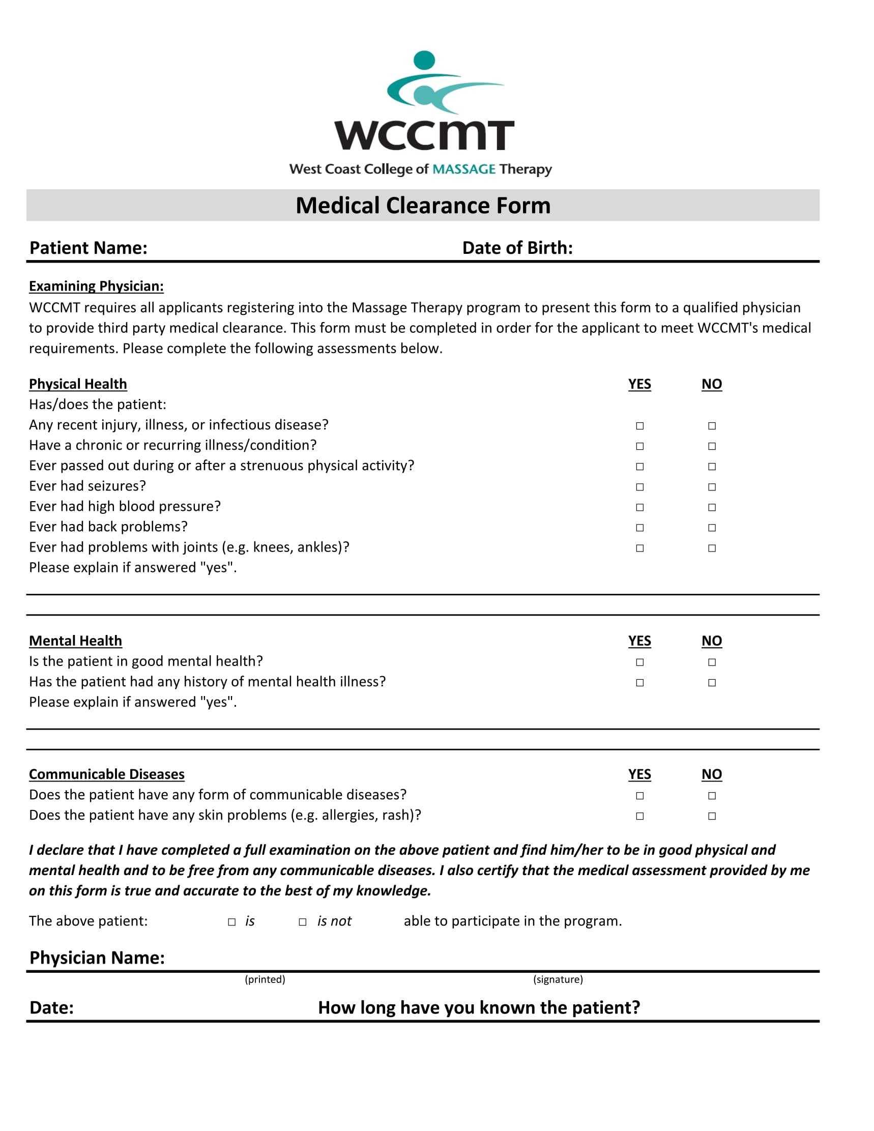 massage medical clearance form 1