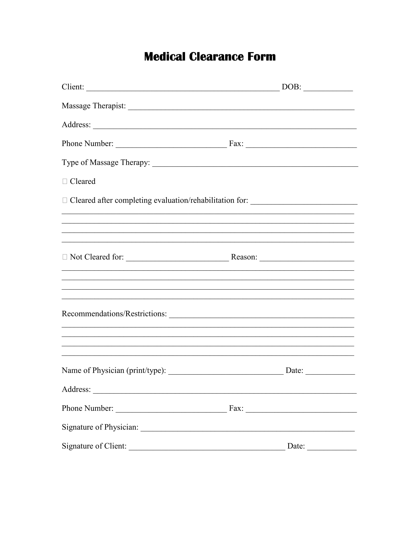 massage therapy medical clearance form 01