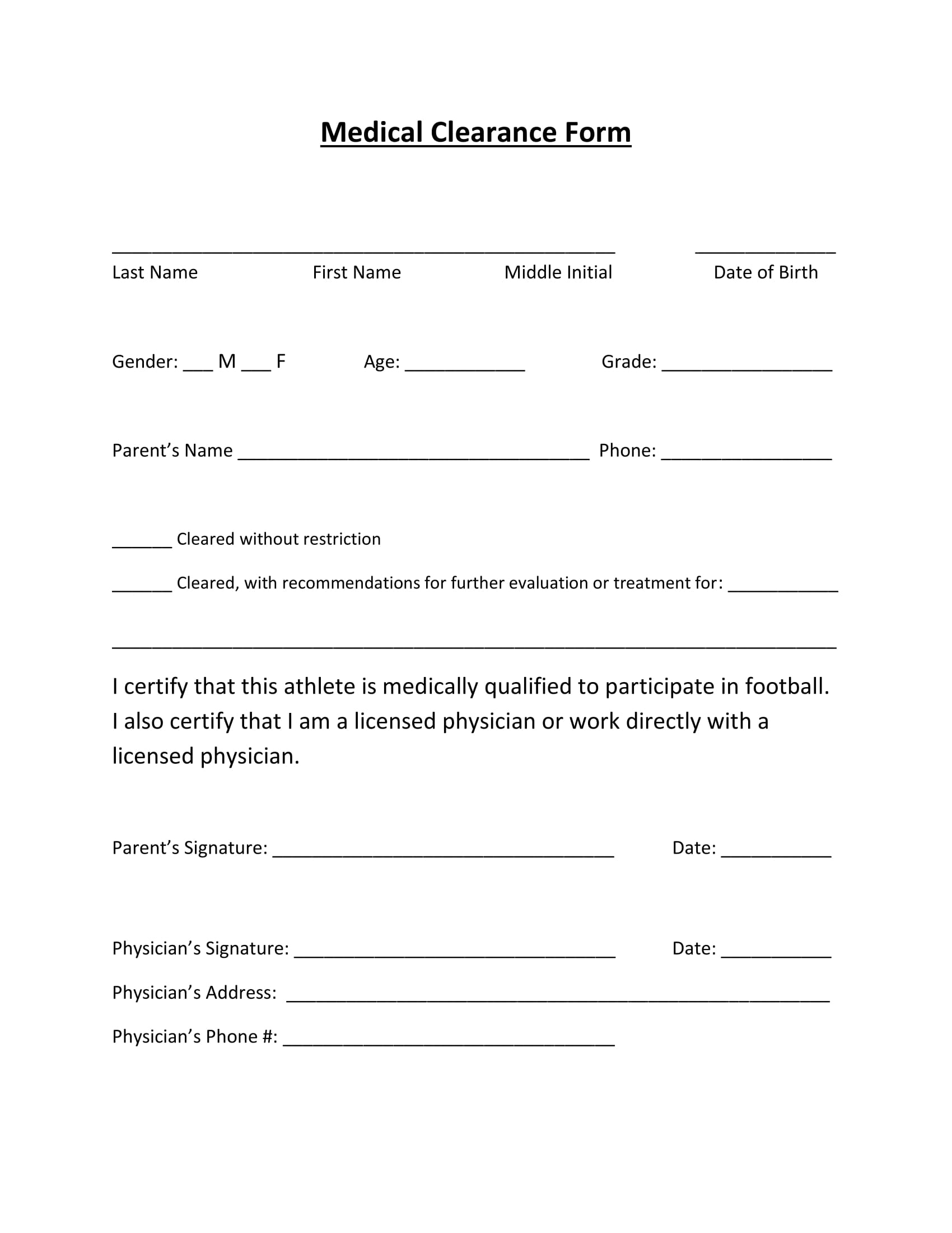 Blank Medical Clearance Form