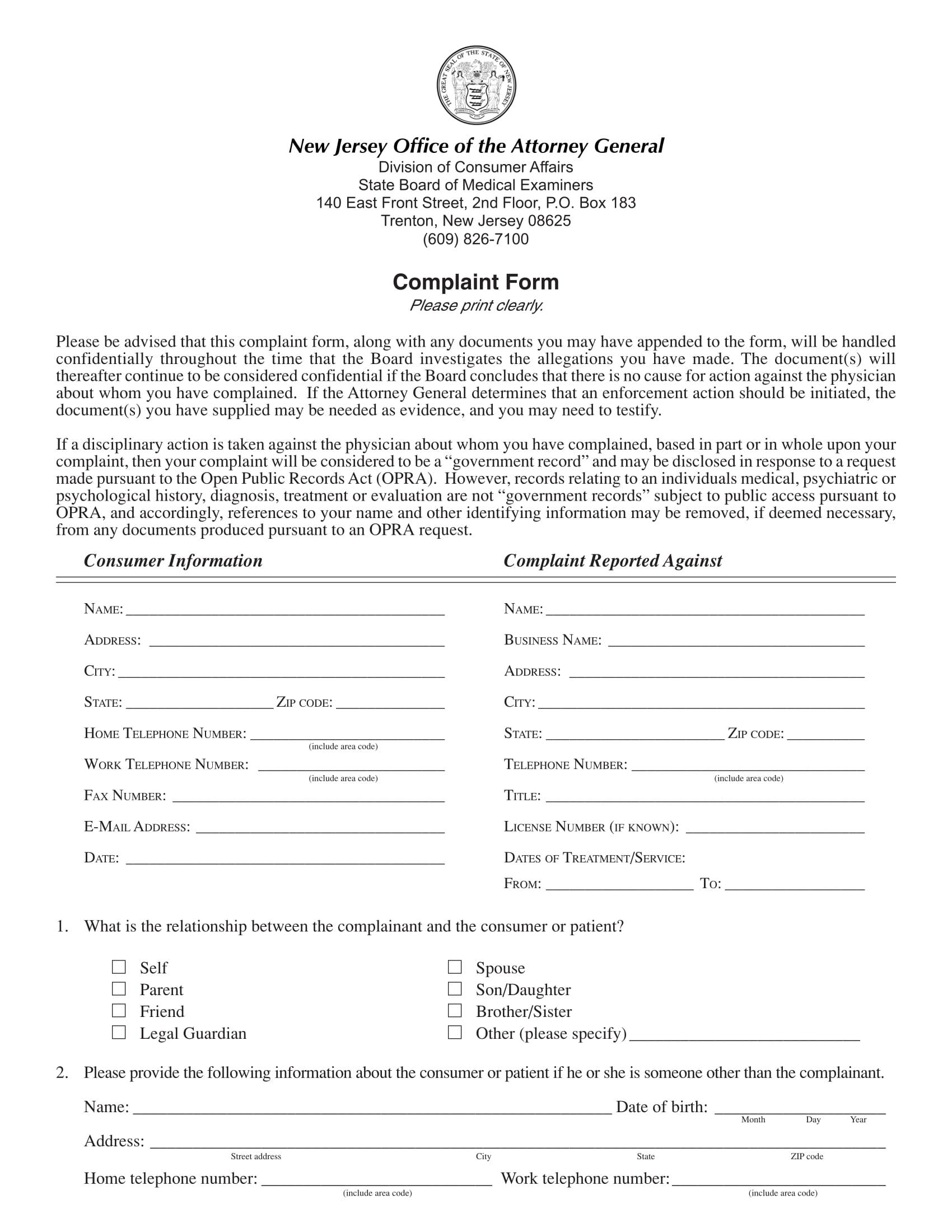 medical exam complaint form 2