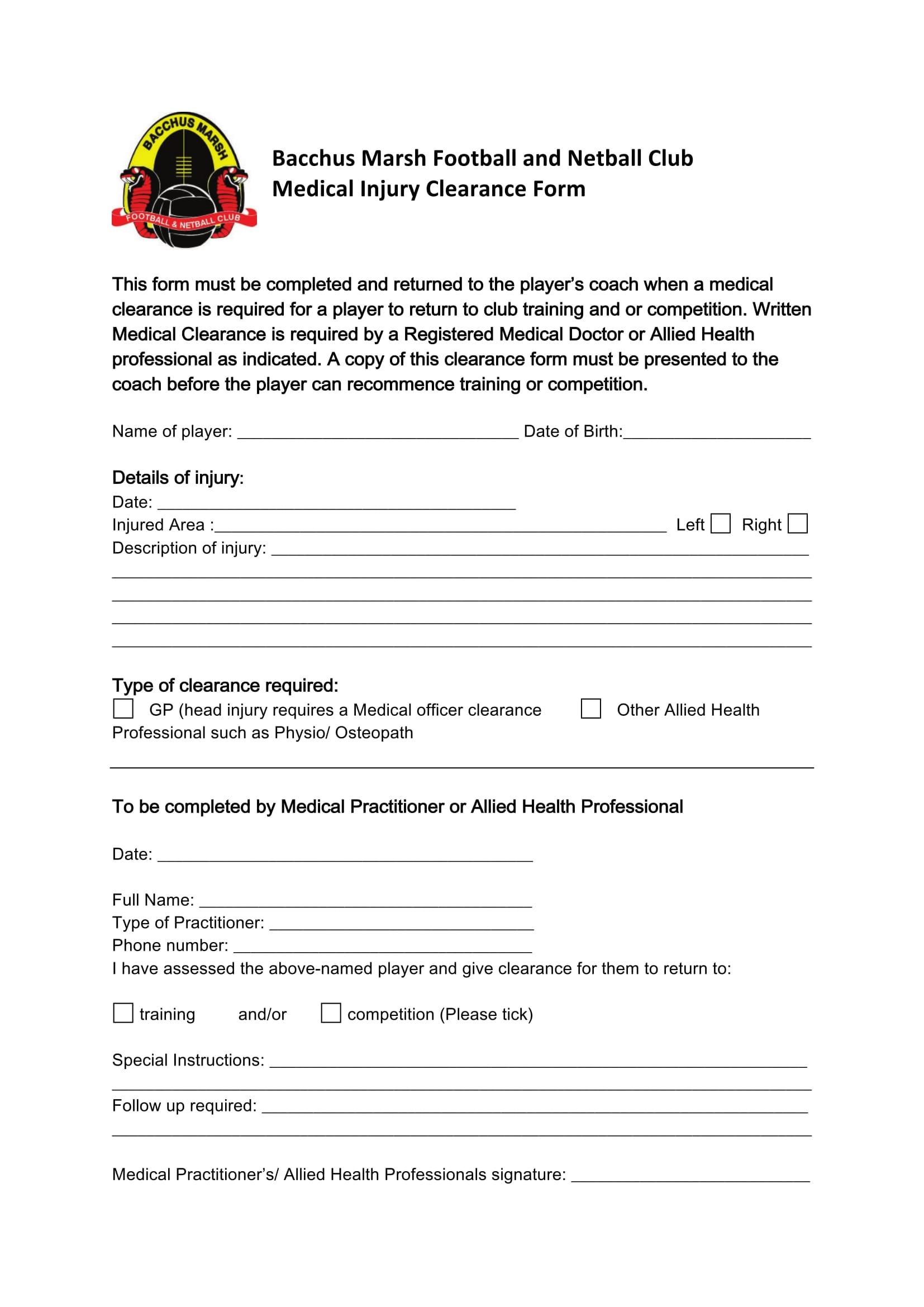 medical injury clearanceform 1