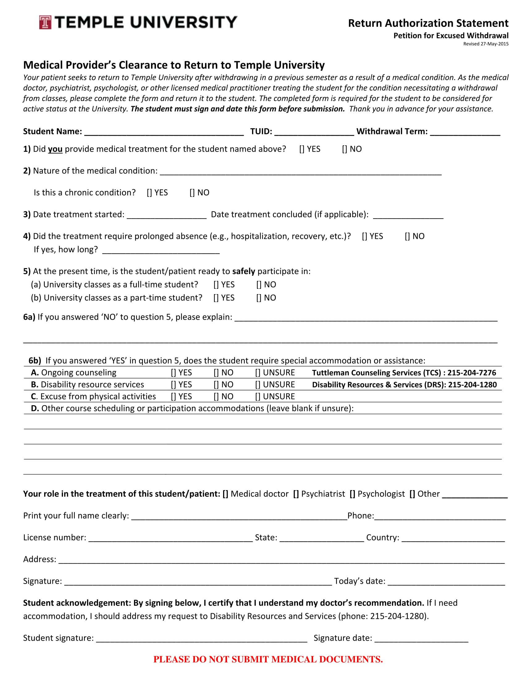 medical providers clearance form 1