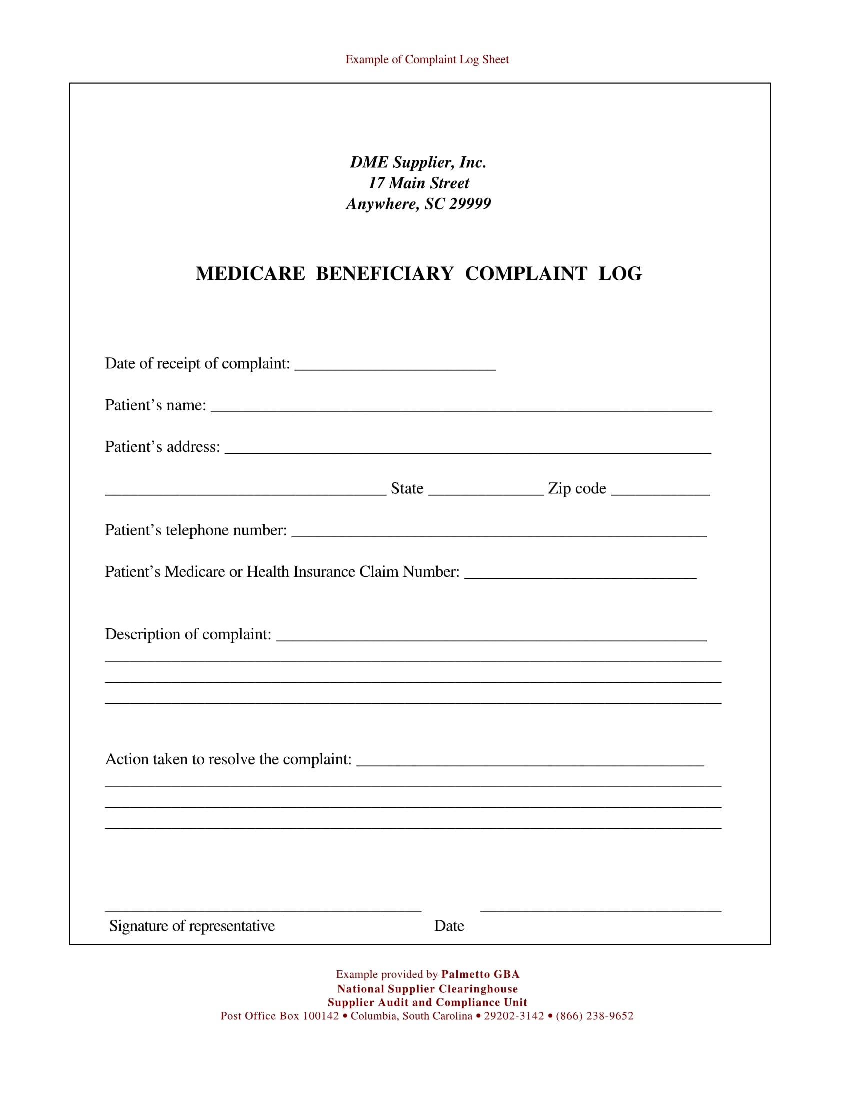 medicare beneficiary complaint log form 1