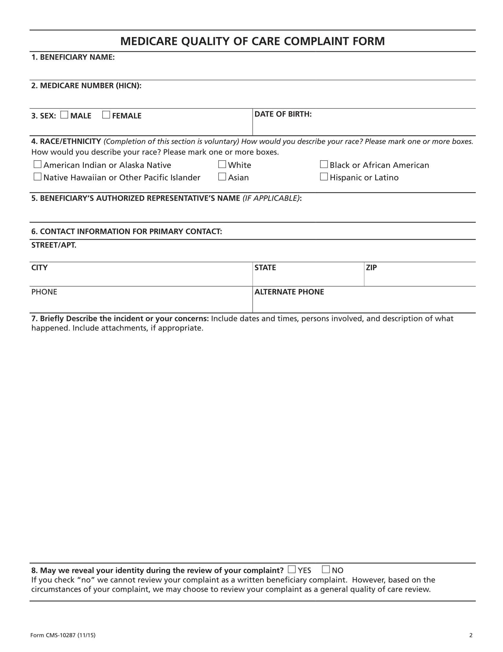 medicare complaint form 2