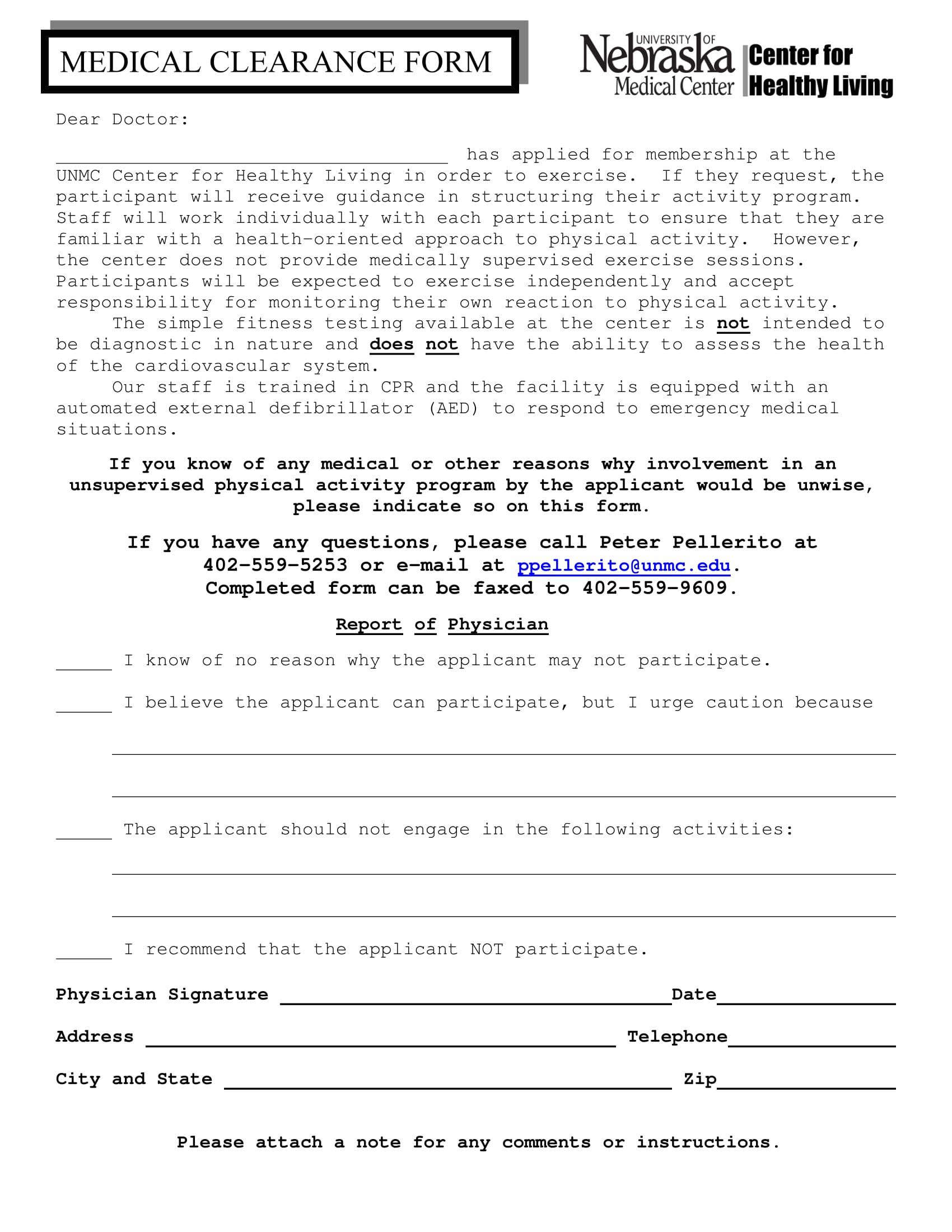 member medical clearance form 1