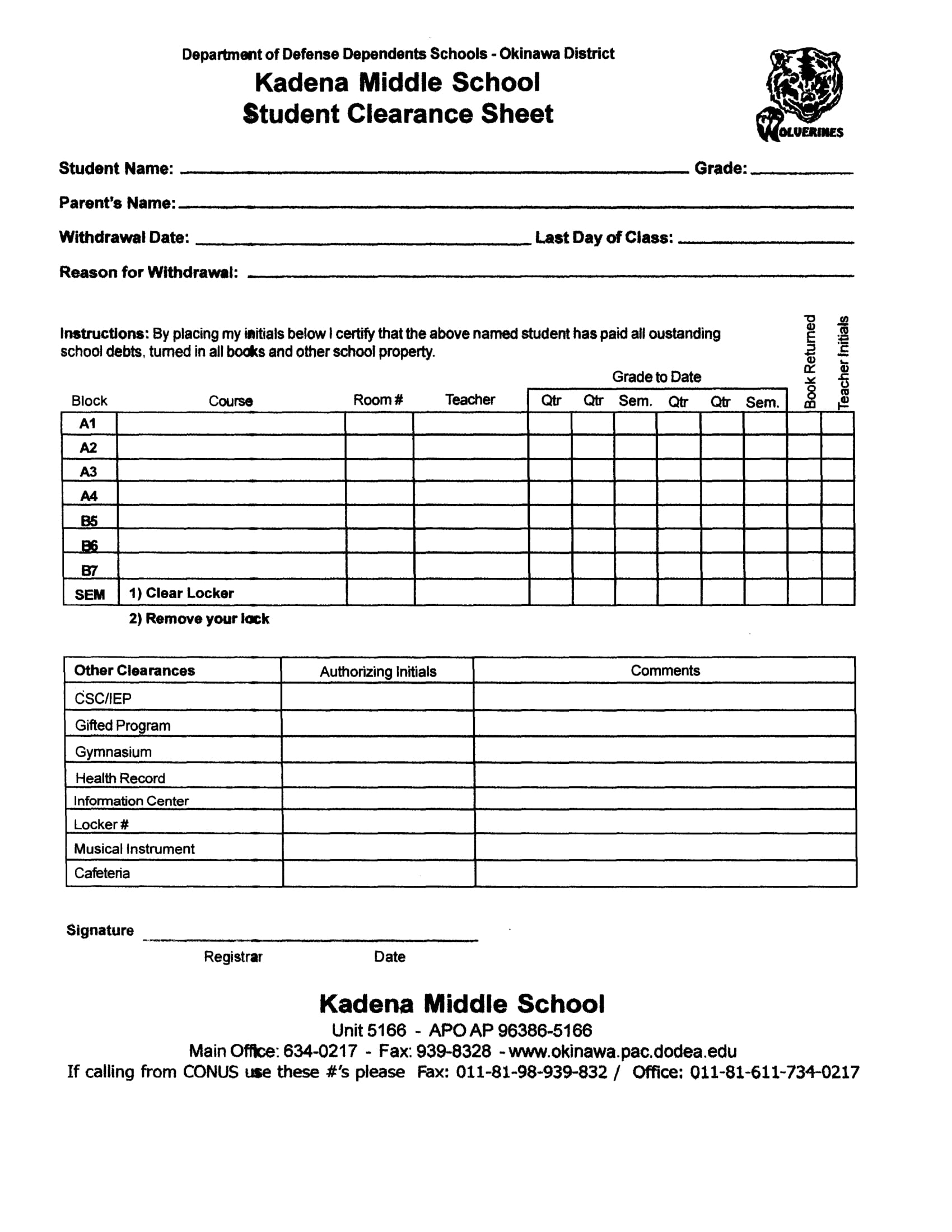 14 student clearance forms free word pdf format download middle school student clearance form yadclub Image collections