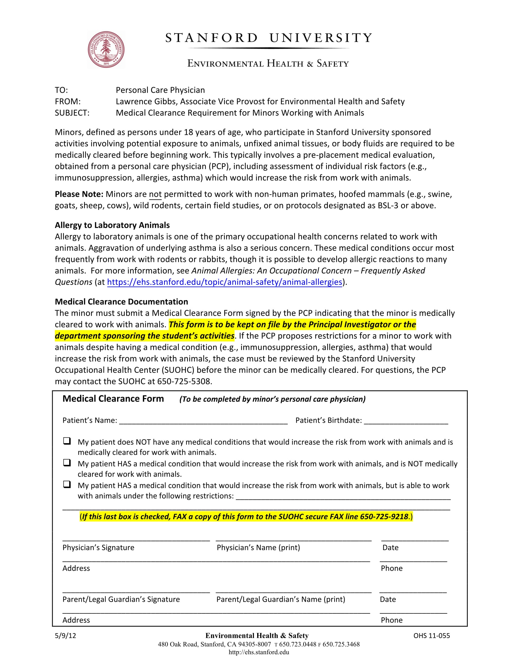 minor medical clearance form 1