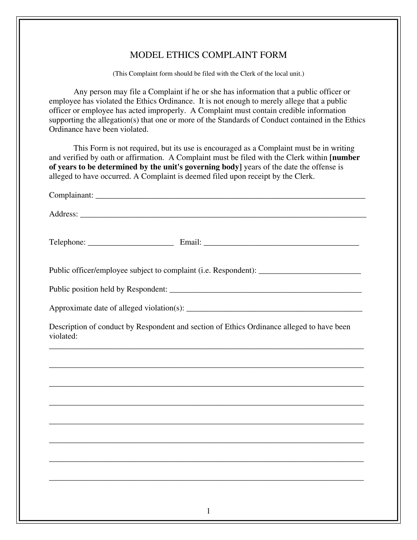 model ethics complaint form 1