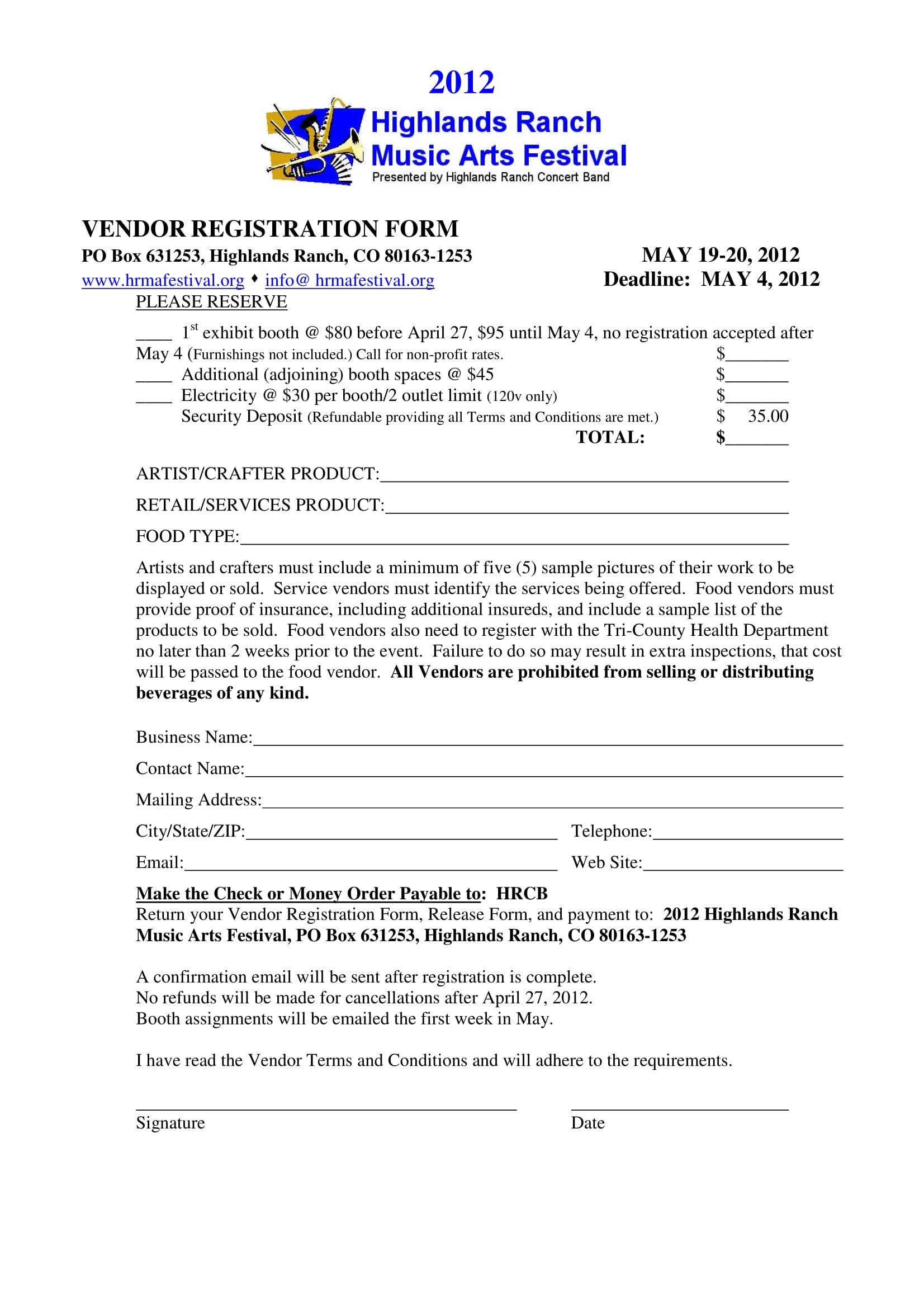 music festival event vendor registration form 1