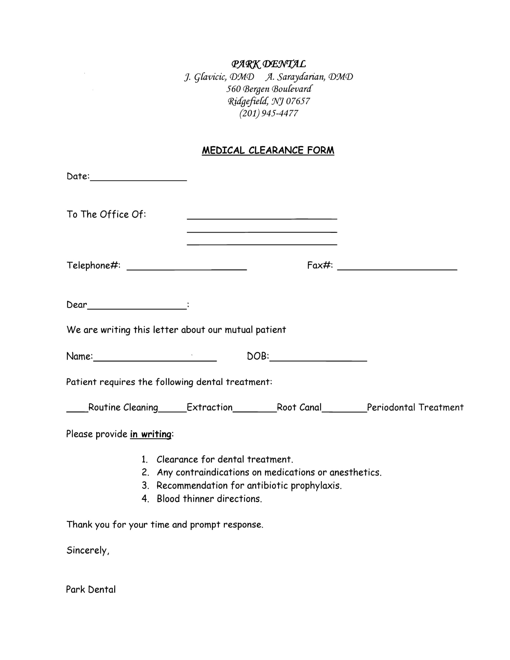 Mutual Patient Medical Clearance Form