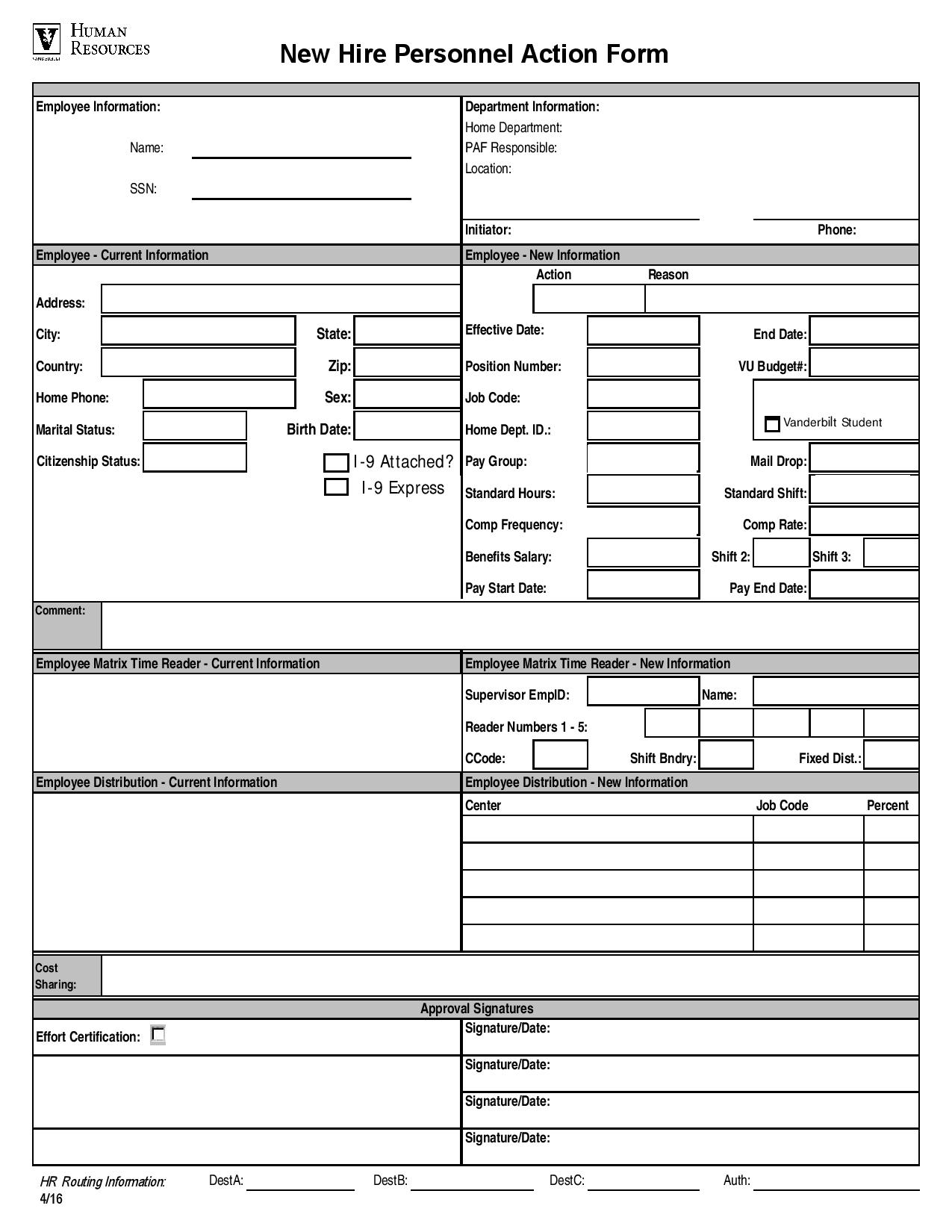 new hire personnel action form page 001