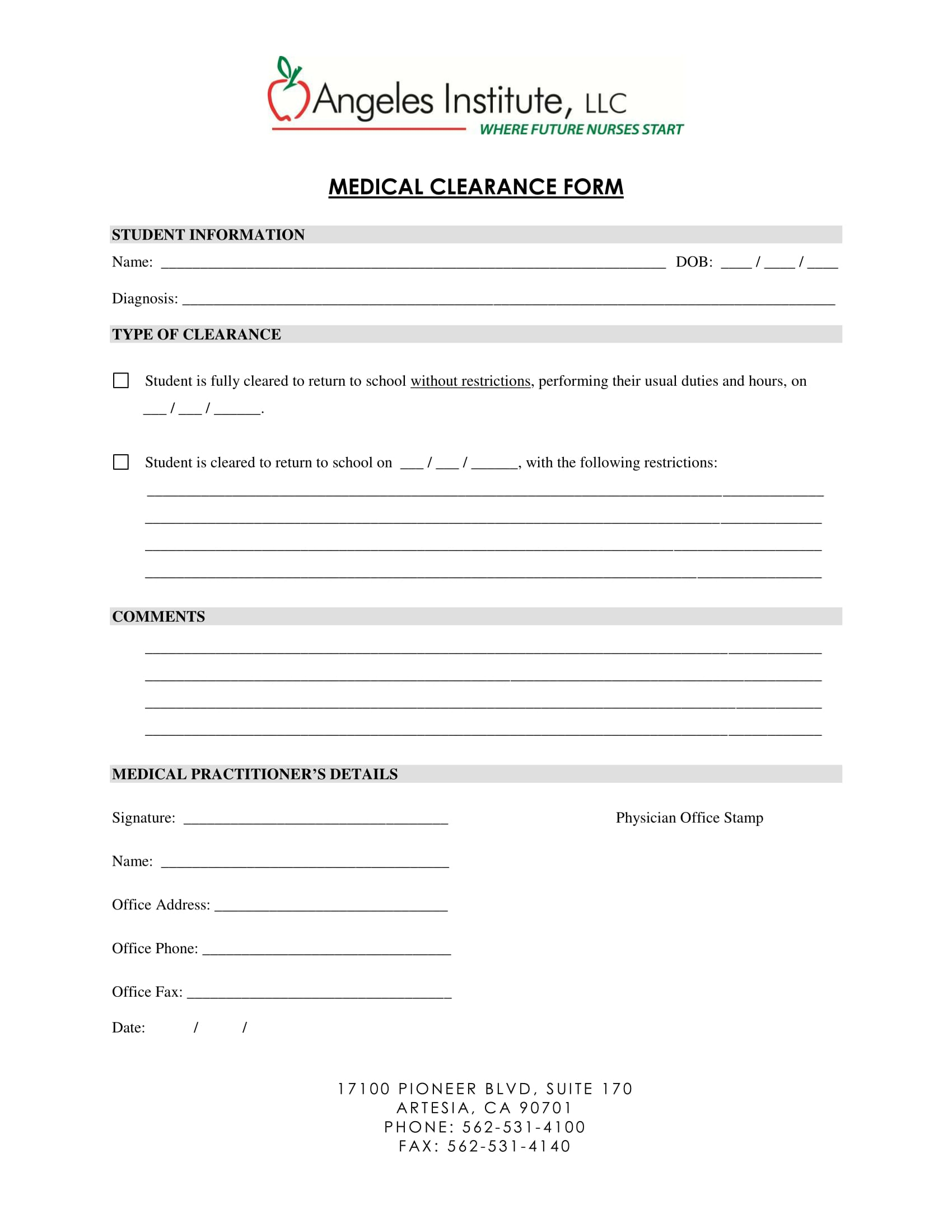 nurse institute medical clearance form 1