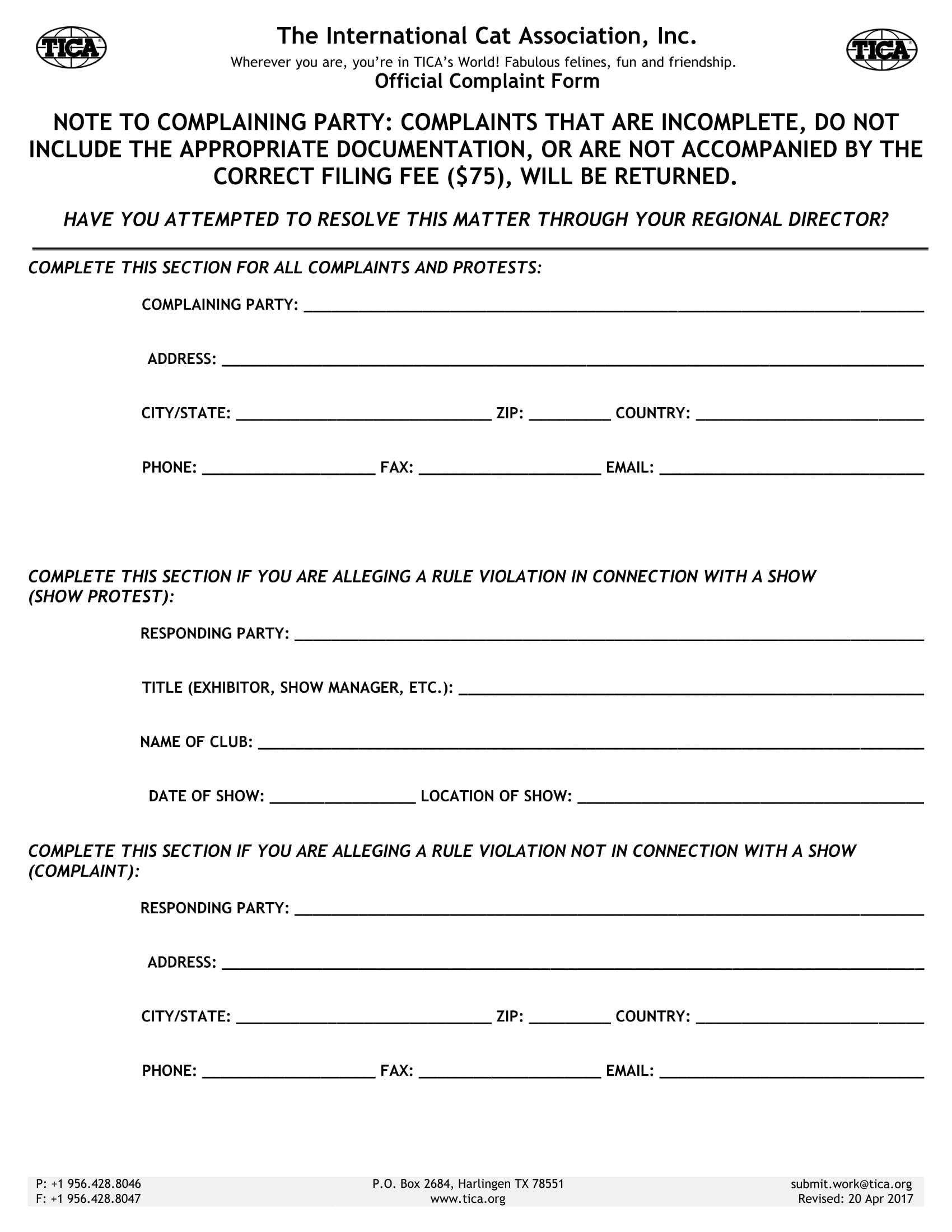 official complaint form 1