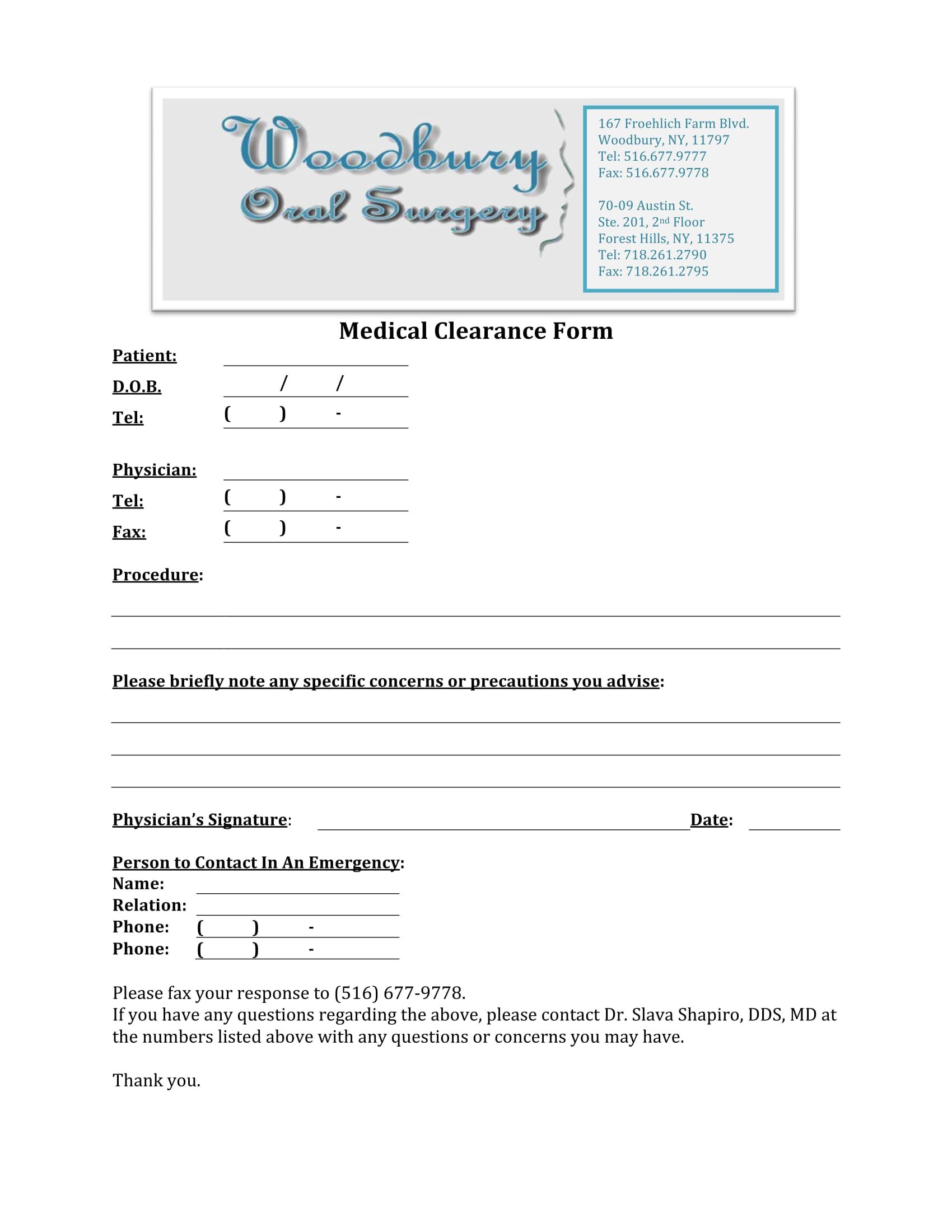 oral surgery medical clearance form 1