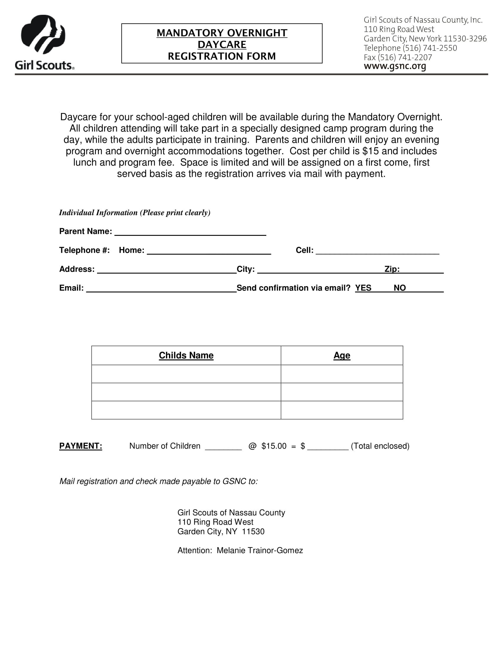 overnight daycare registration form 1