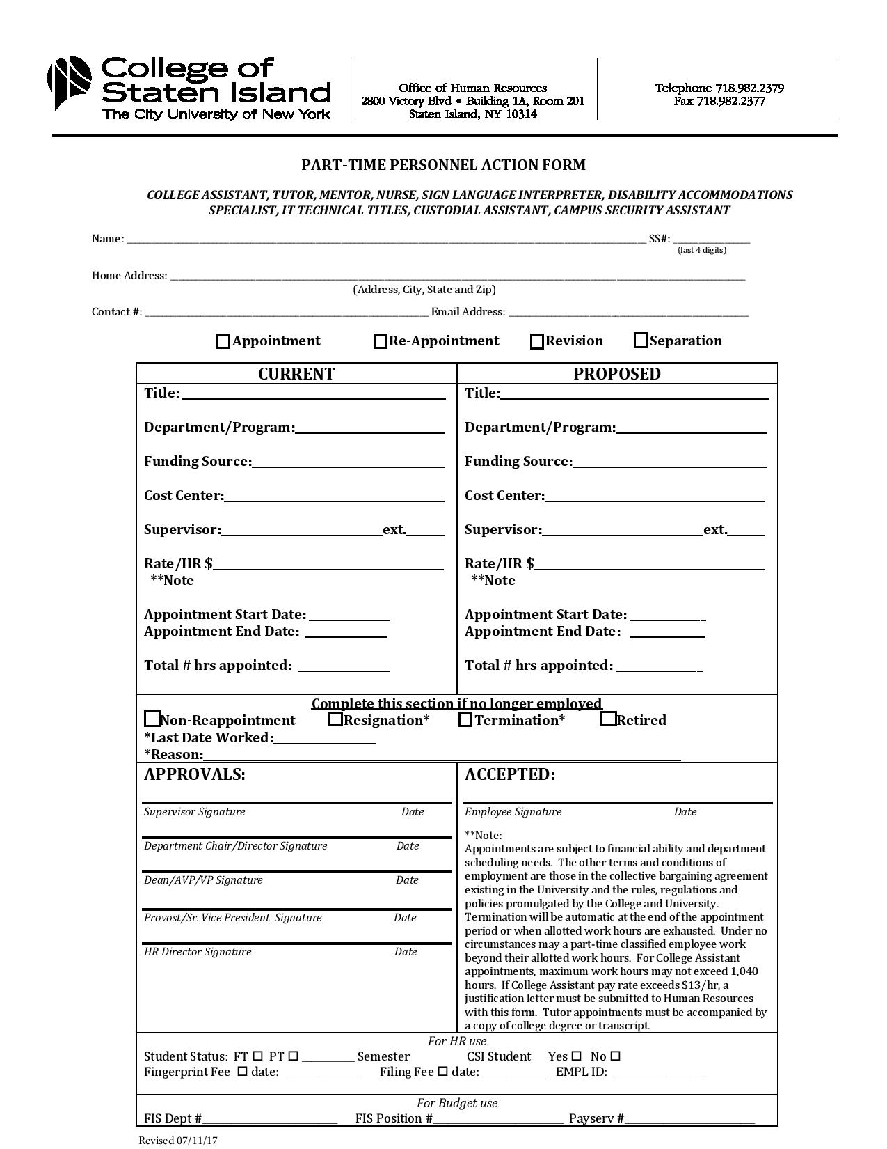 part time personnel action form page 001
