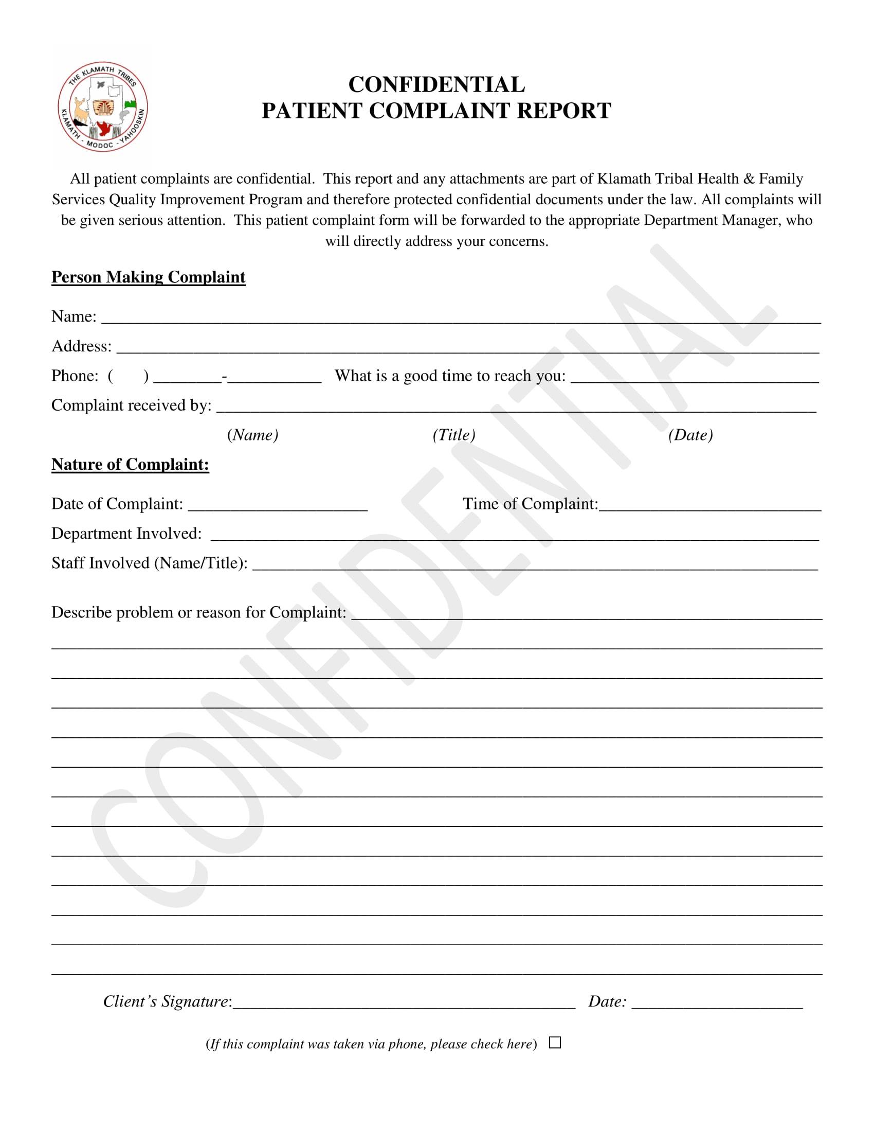 patient complaint report form 1