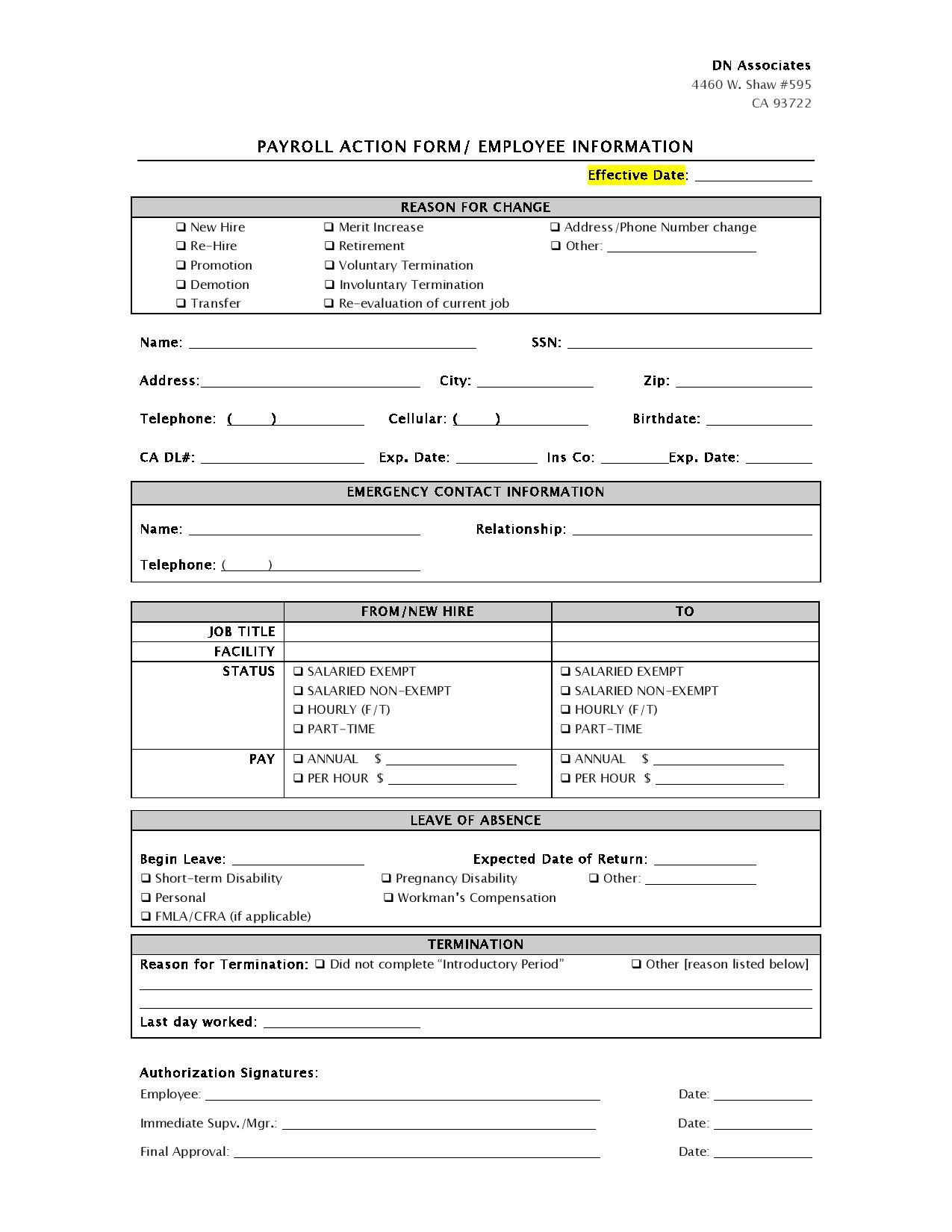 payroll action form employee information page 001