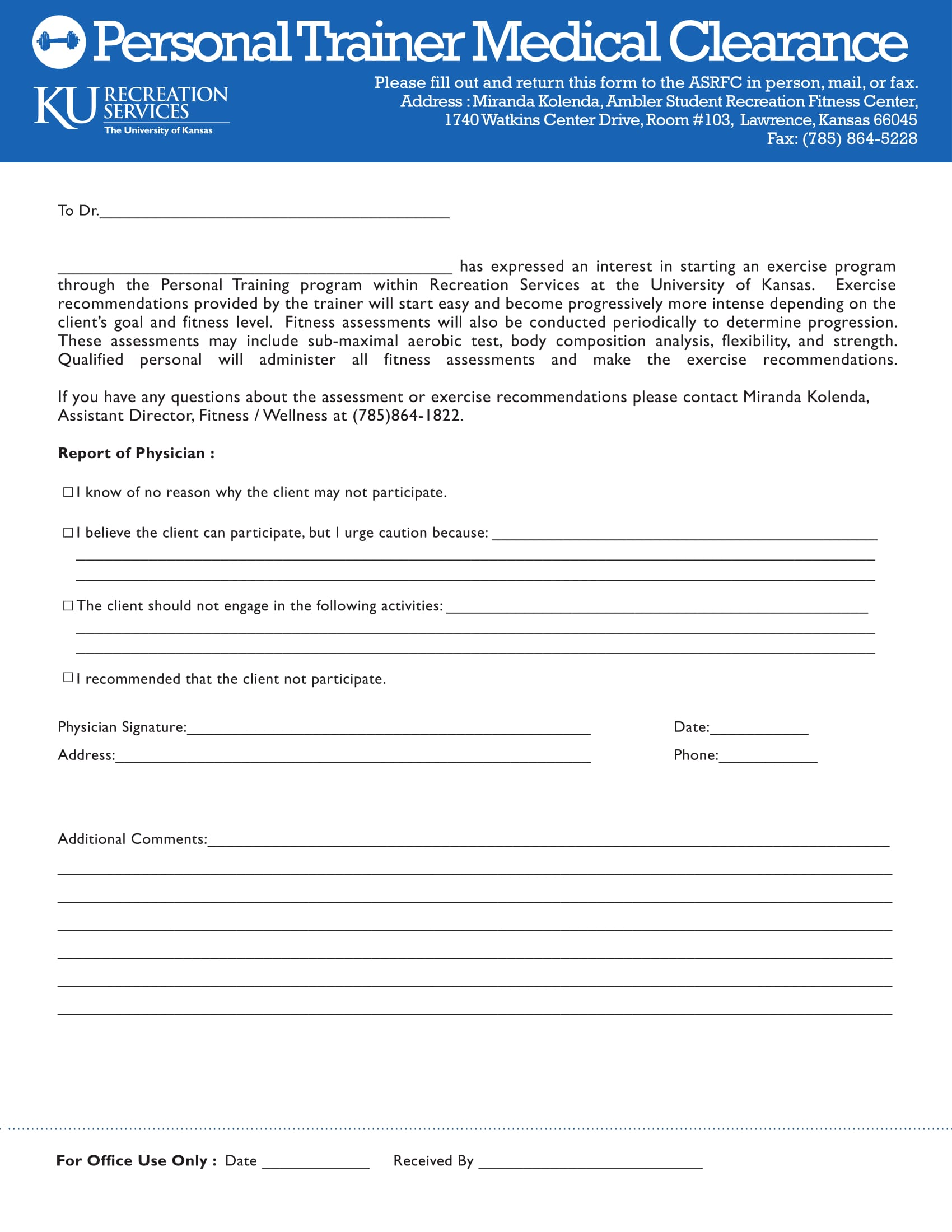 personal trainer medical clearance form 1