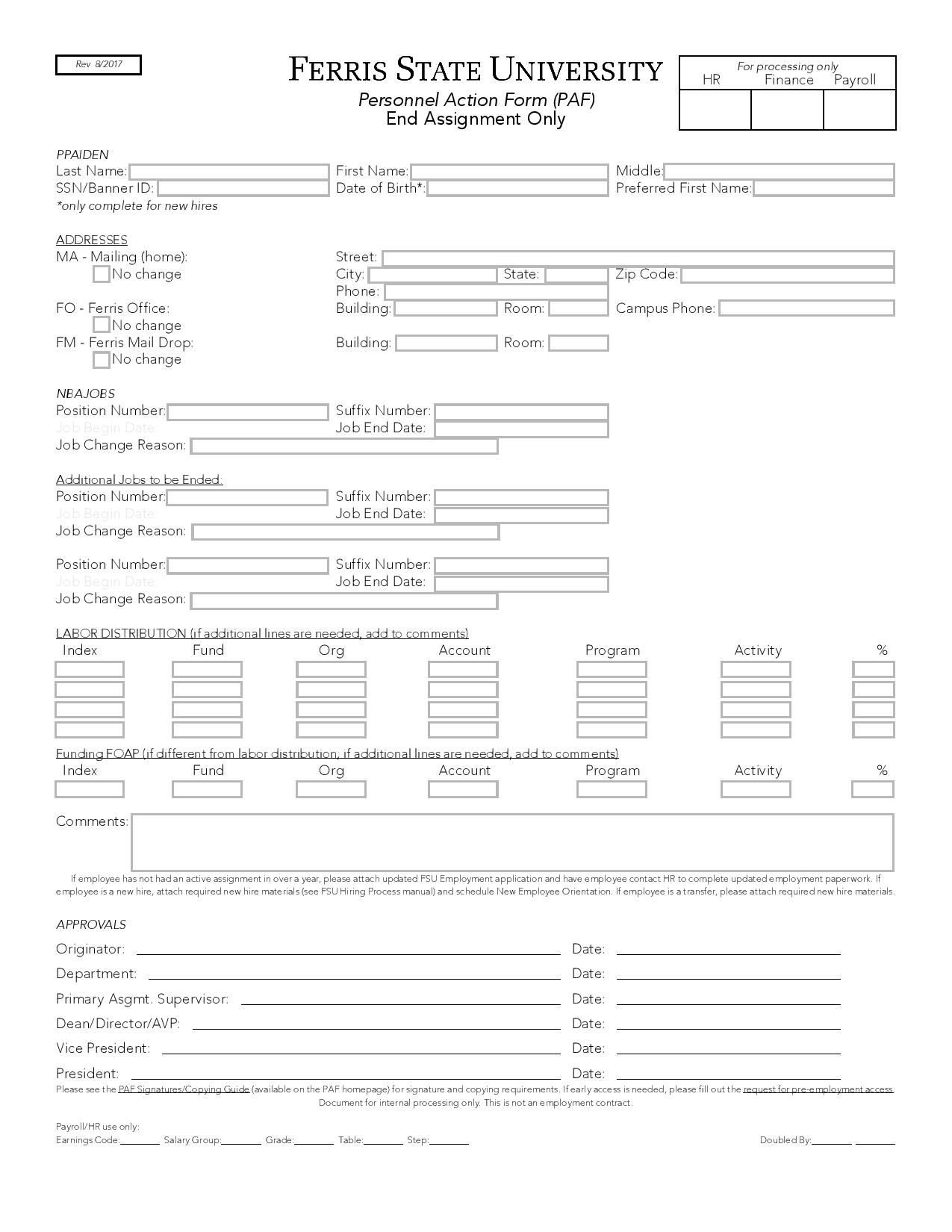 personnel action form end assignment page 001