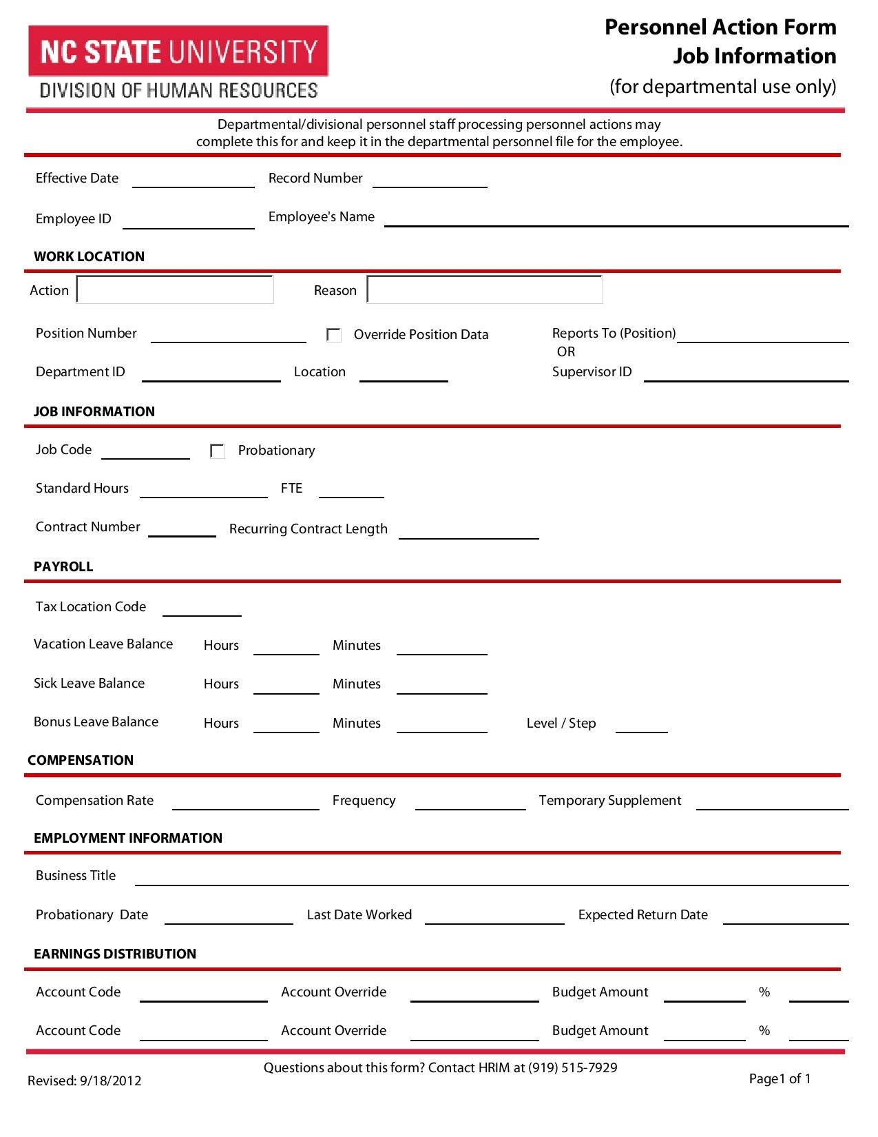 personnel action form job information page 001