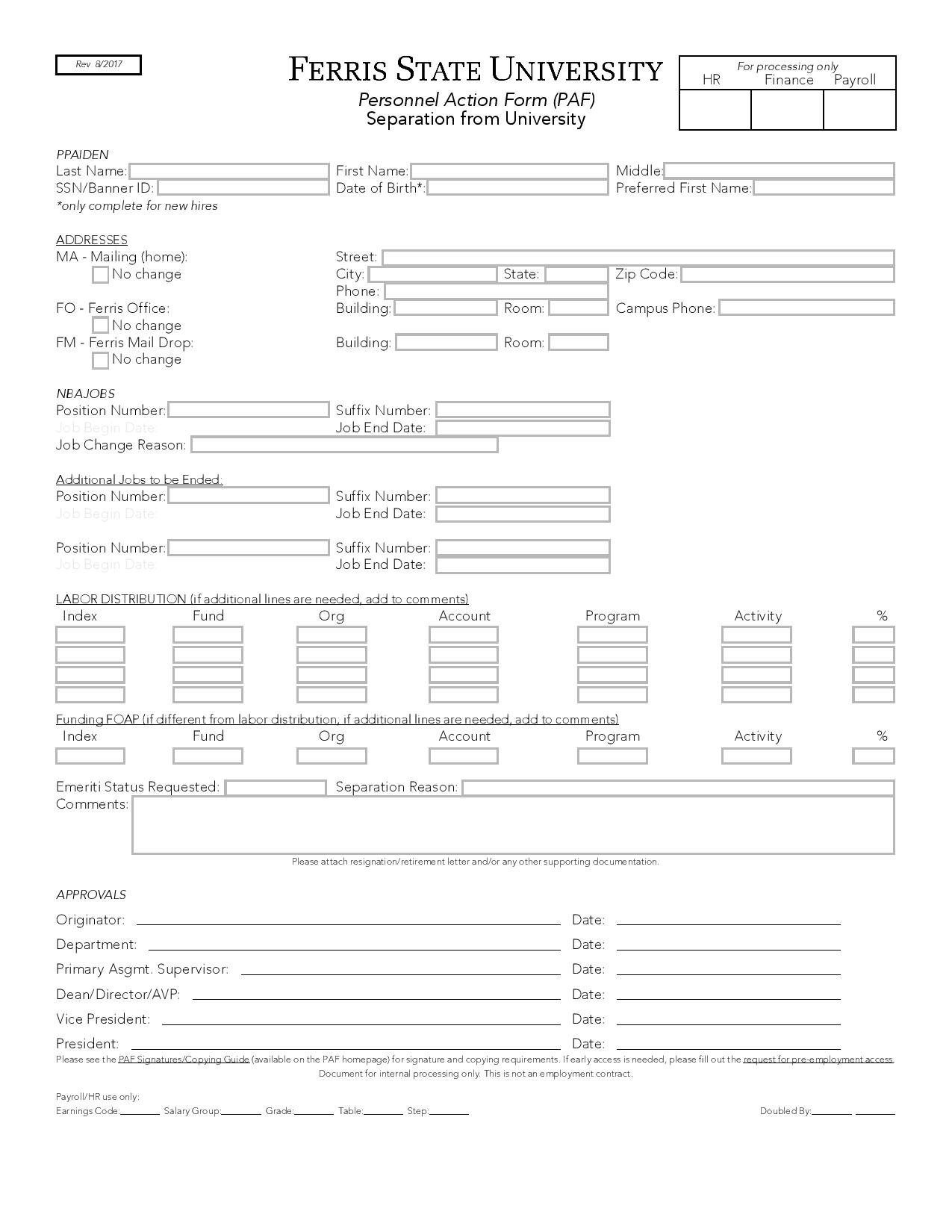personnel action form separation page 001