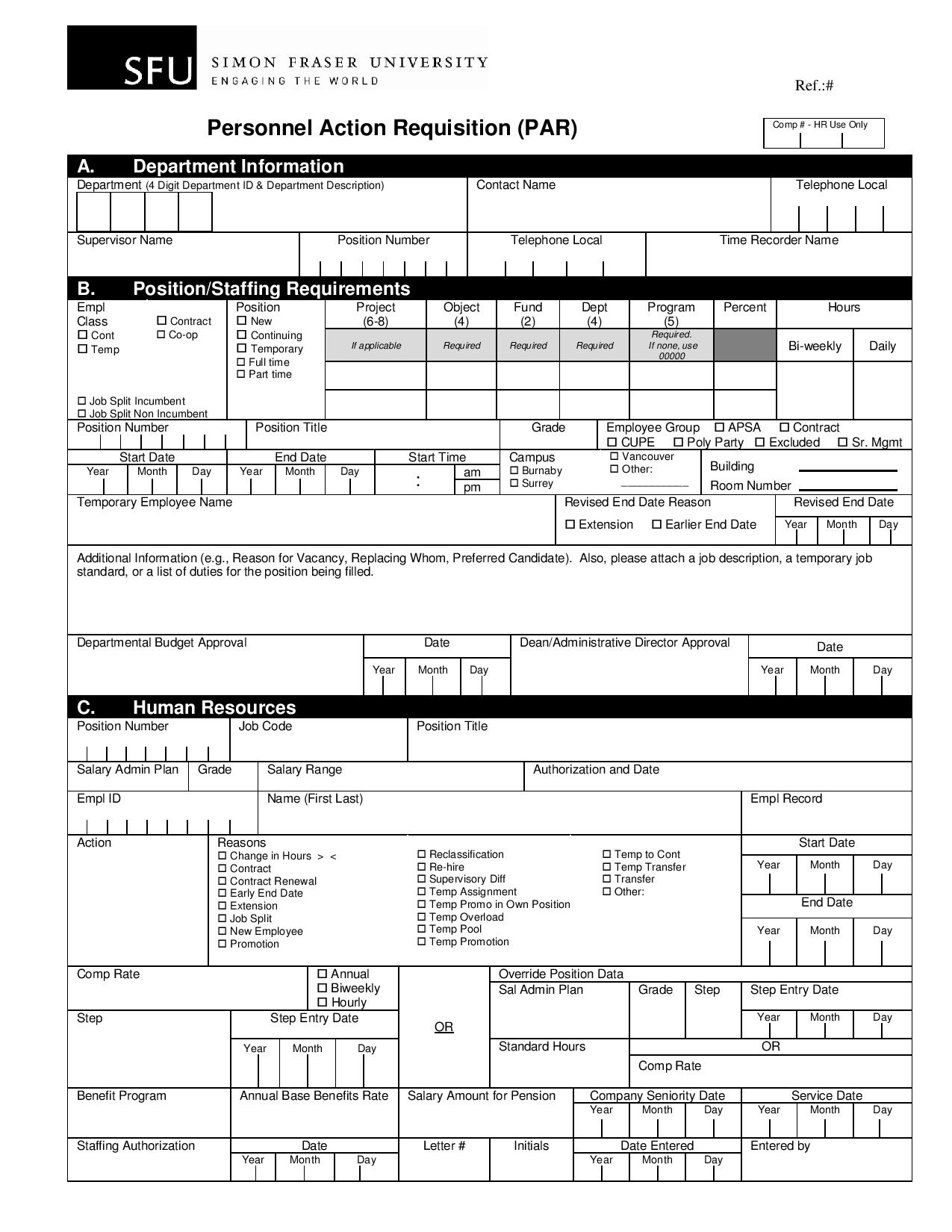 personnel action requisition form page 001