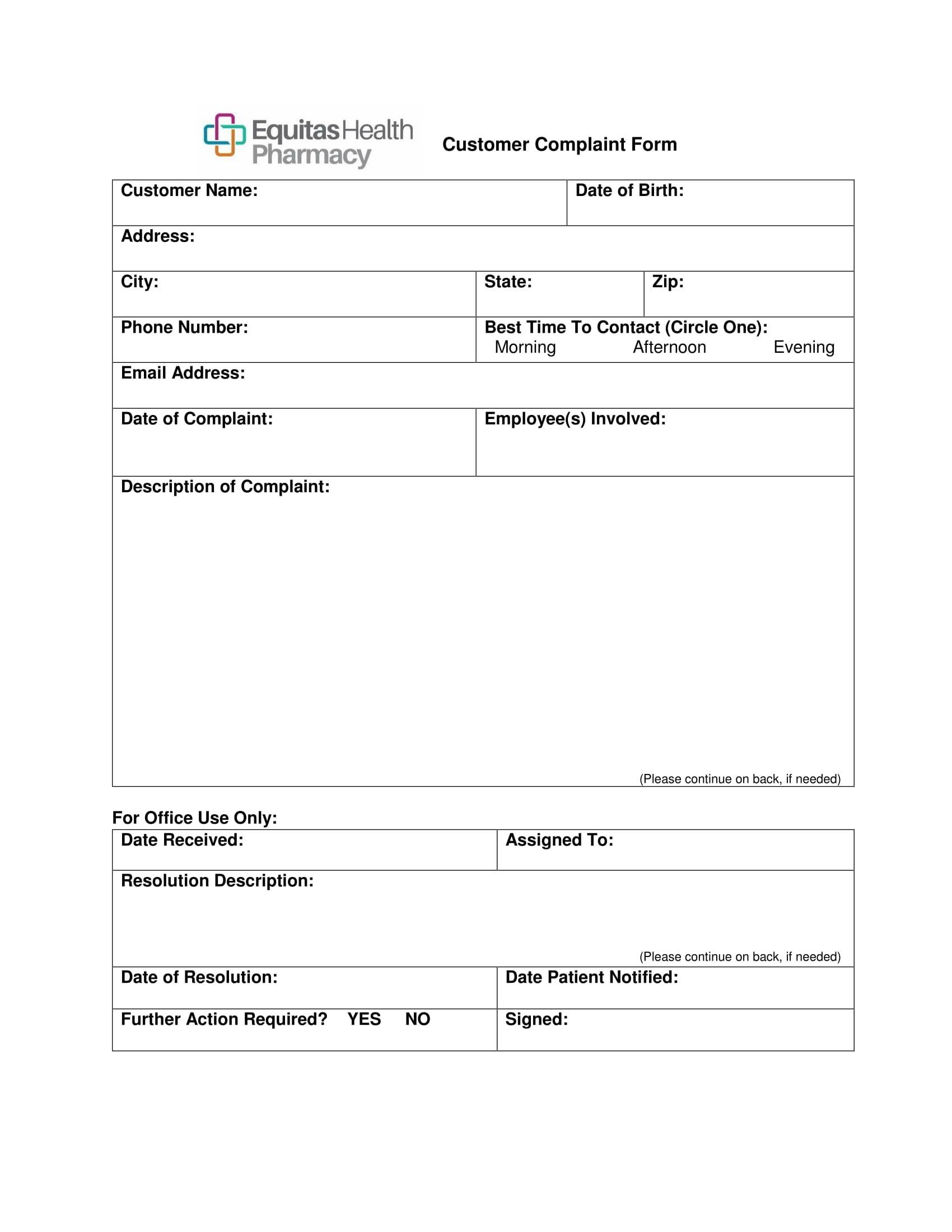 pharmacy customer complaint form 1