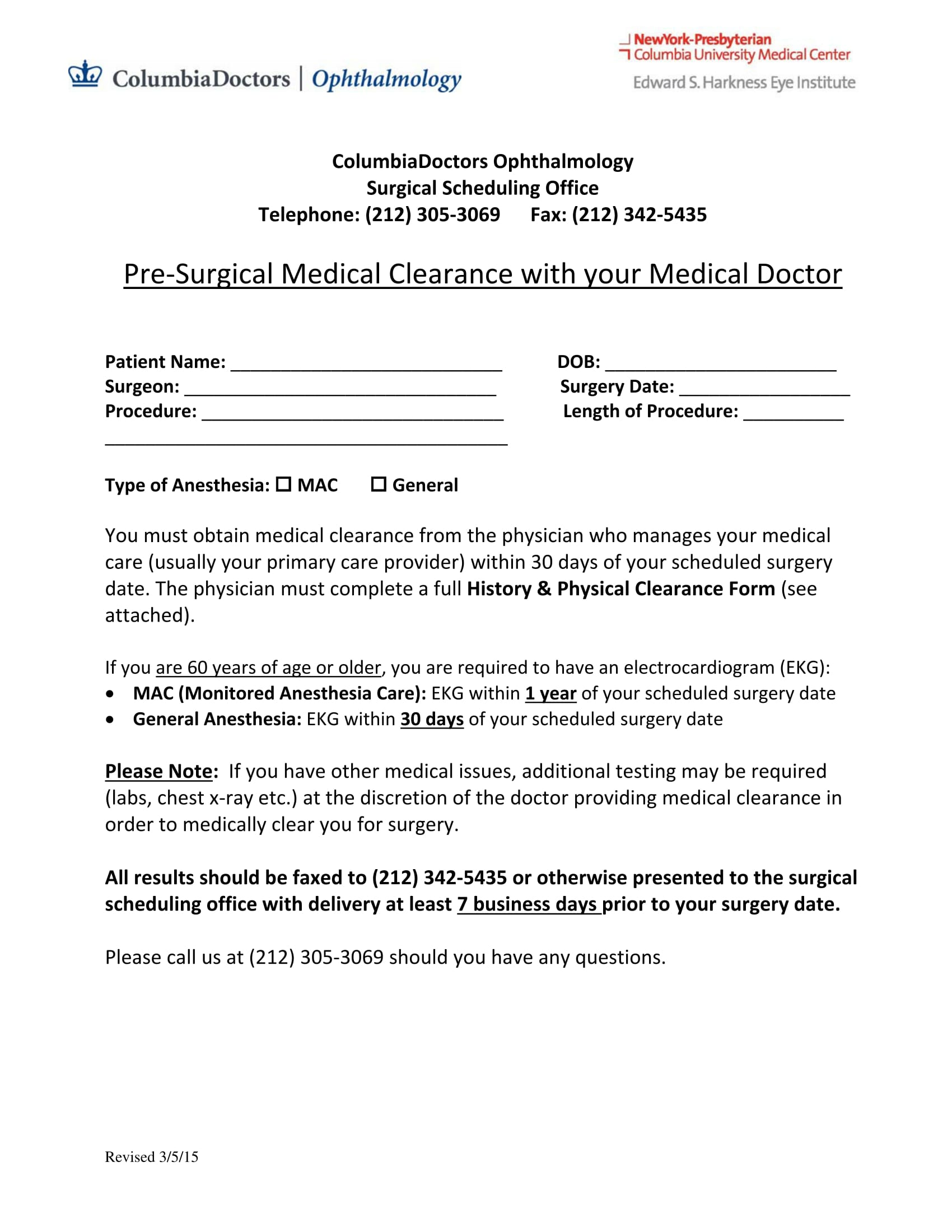 pre surgical medical clearance form 1