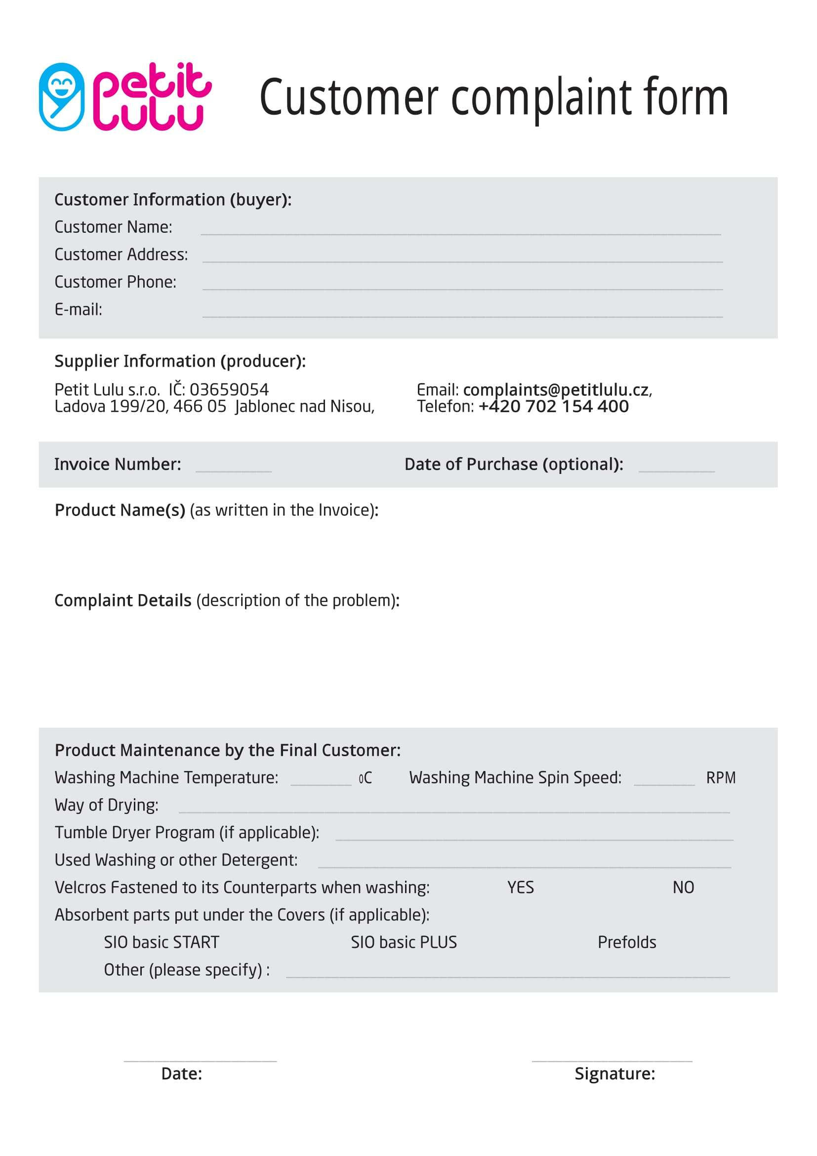 product customer complaint form 1