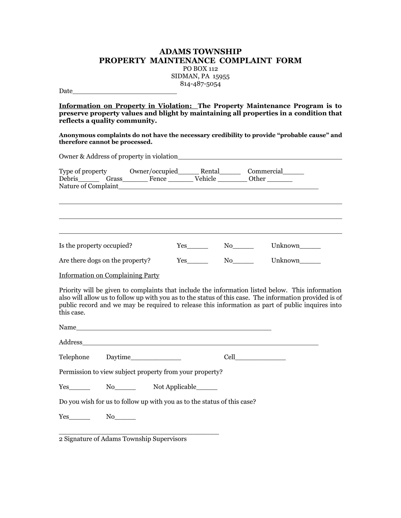 property maintenance complaint form 1