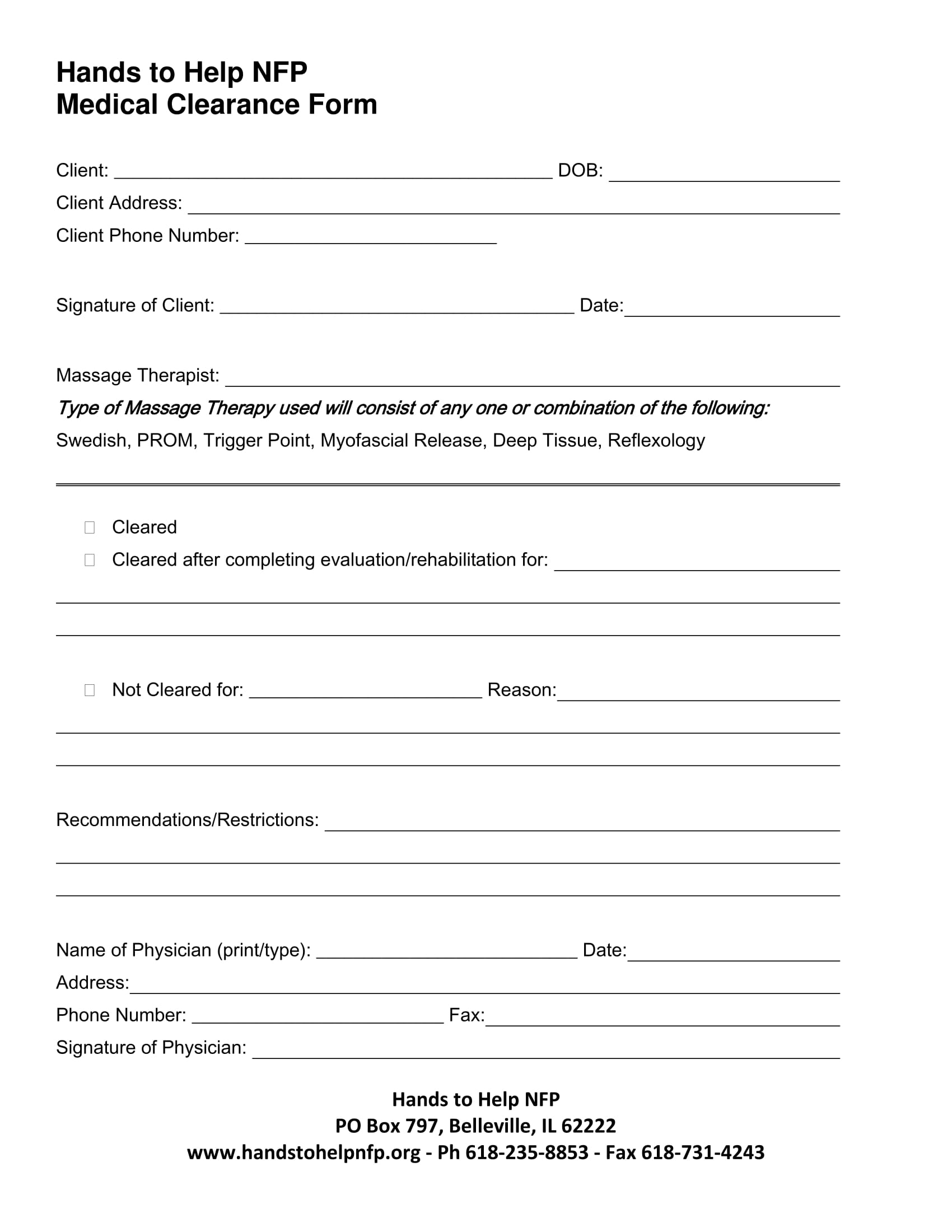 Beautiful Basic Medical Clearance Form