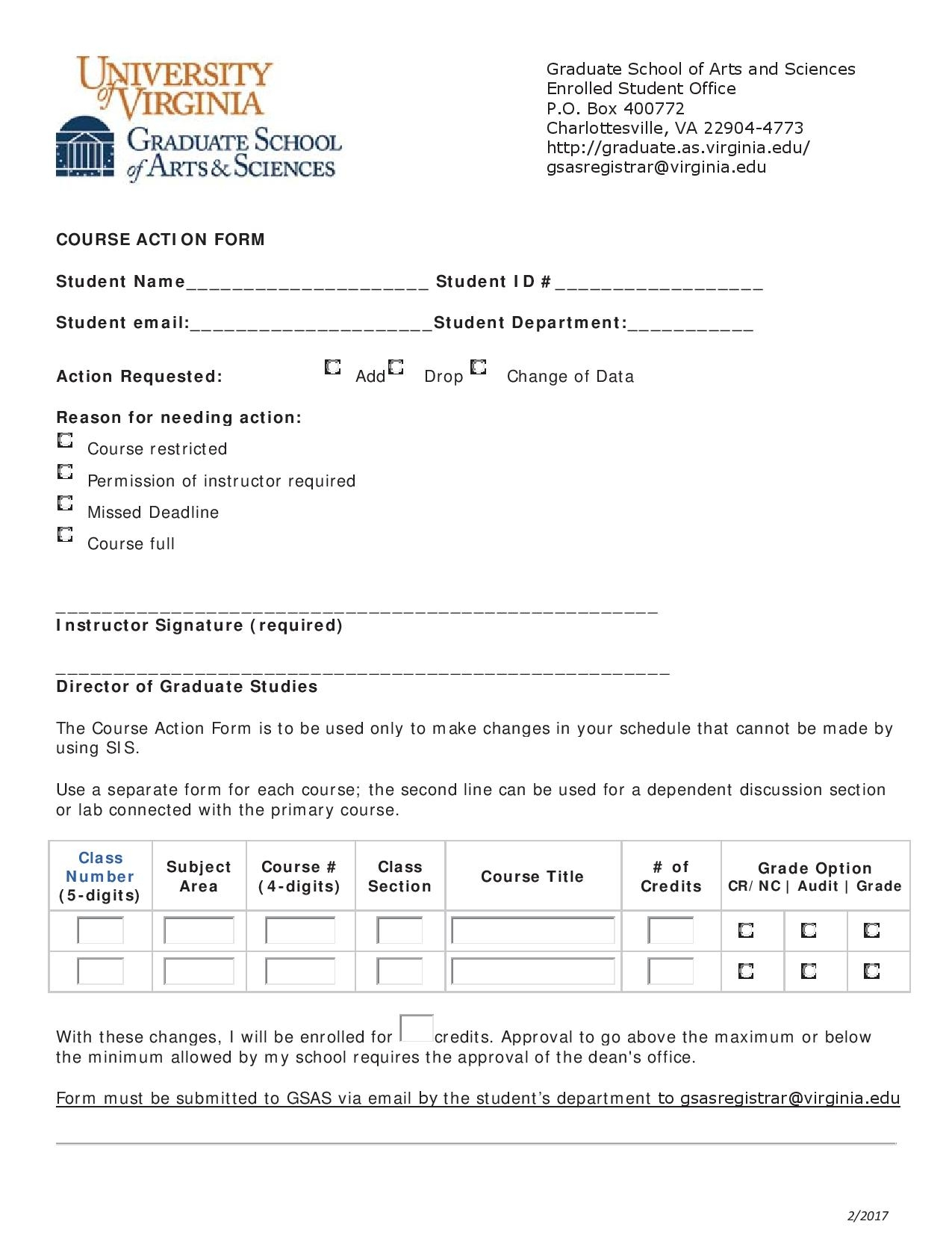 request for course action form page 001