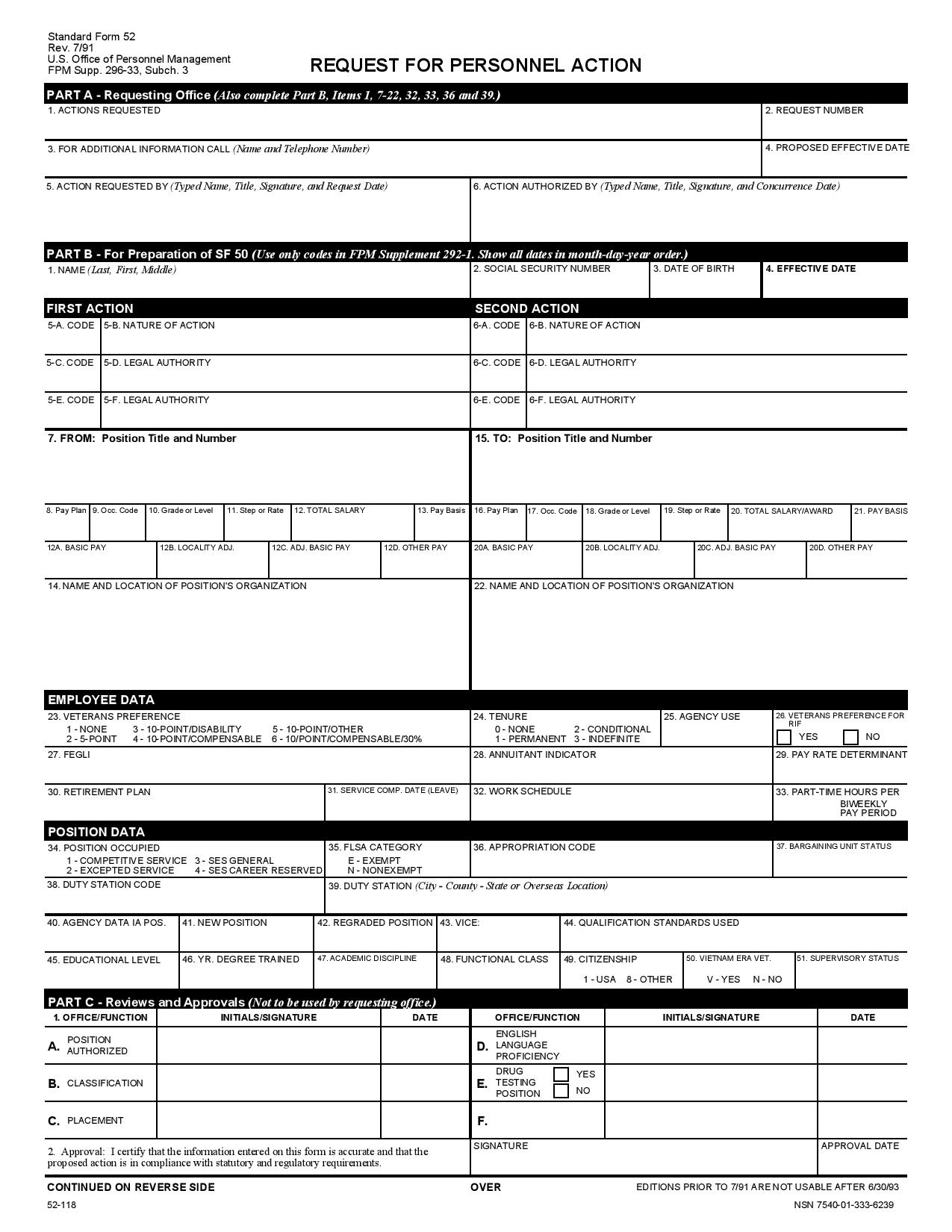 request for employee personnel action form page 0011