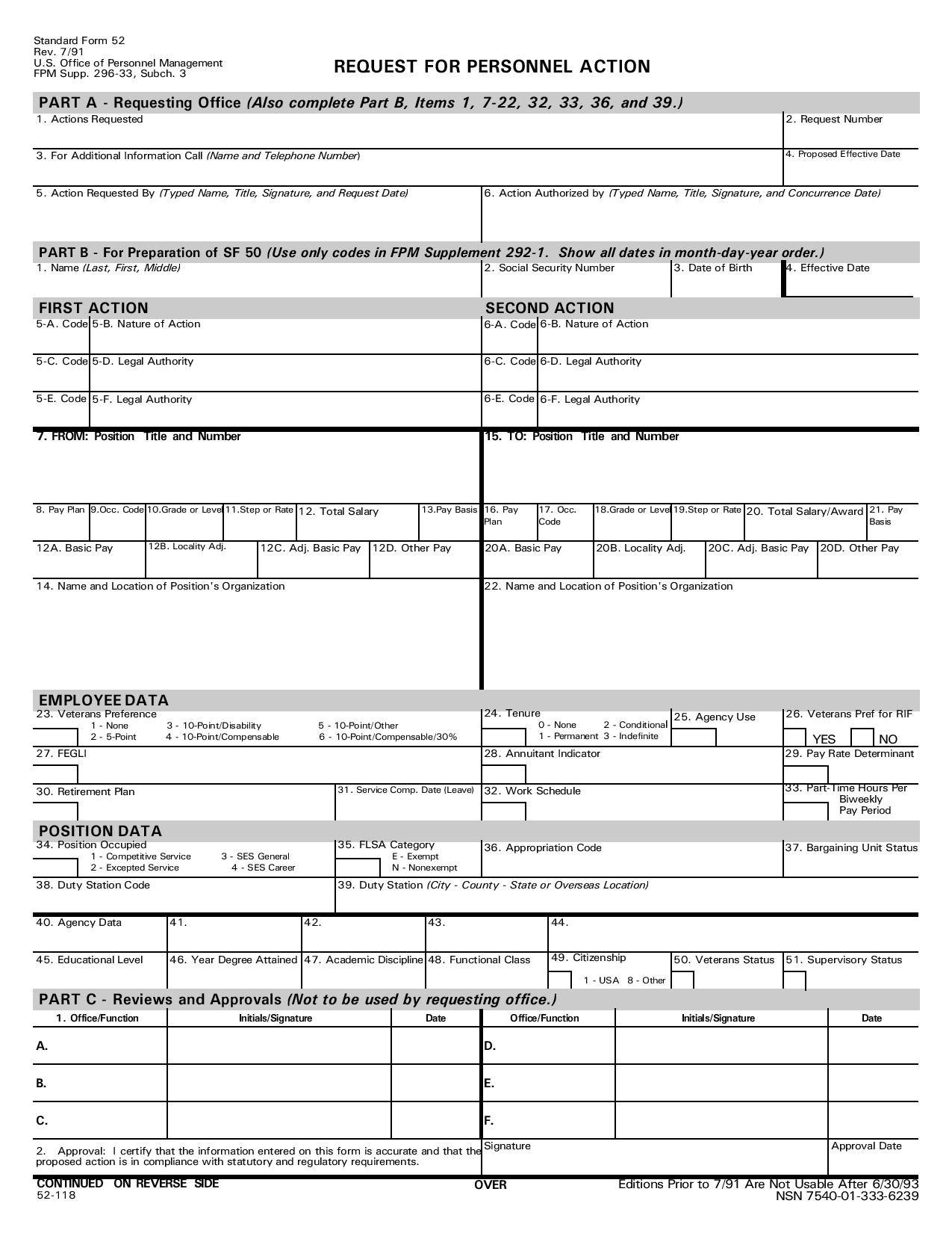 request for personnel action form paf page 001